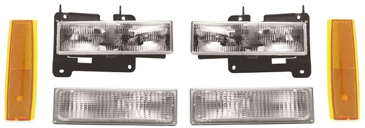 88-93 GMC 6Pc Front Head Light Kit
