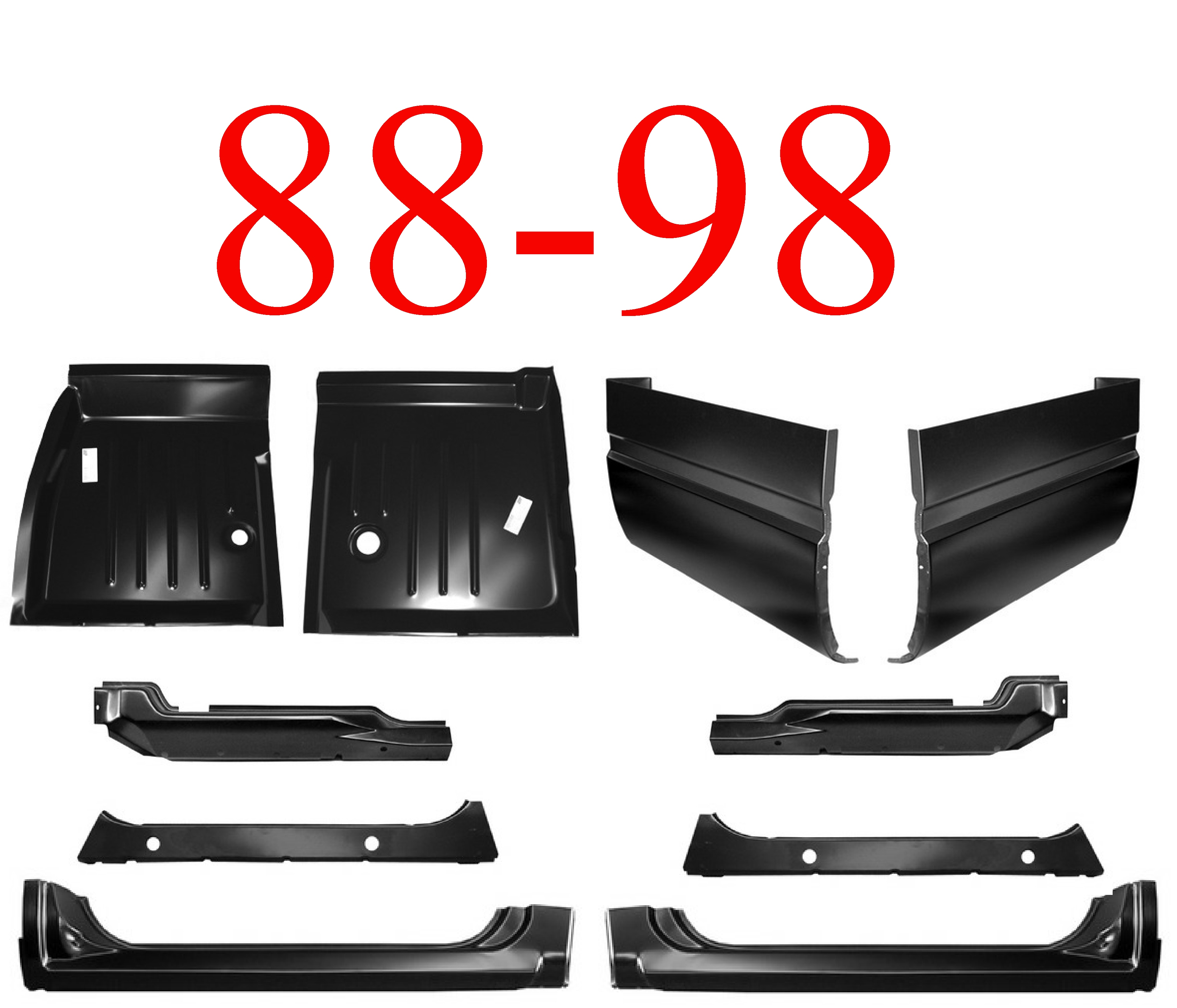 88-98 10Pc Extended Cab Corner, Rocker & Floor Kit