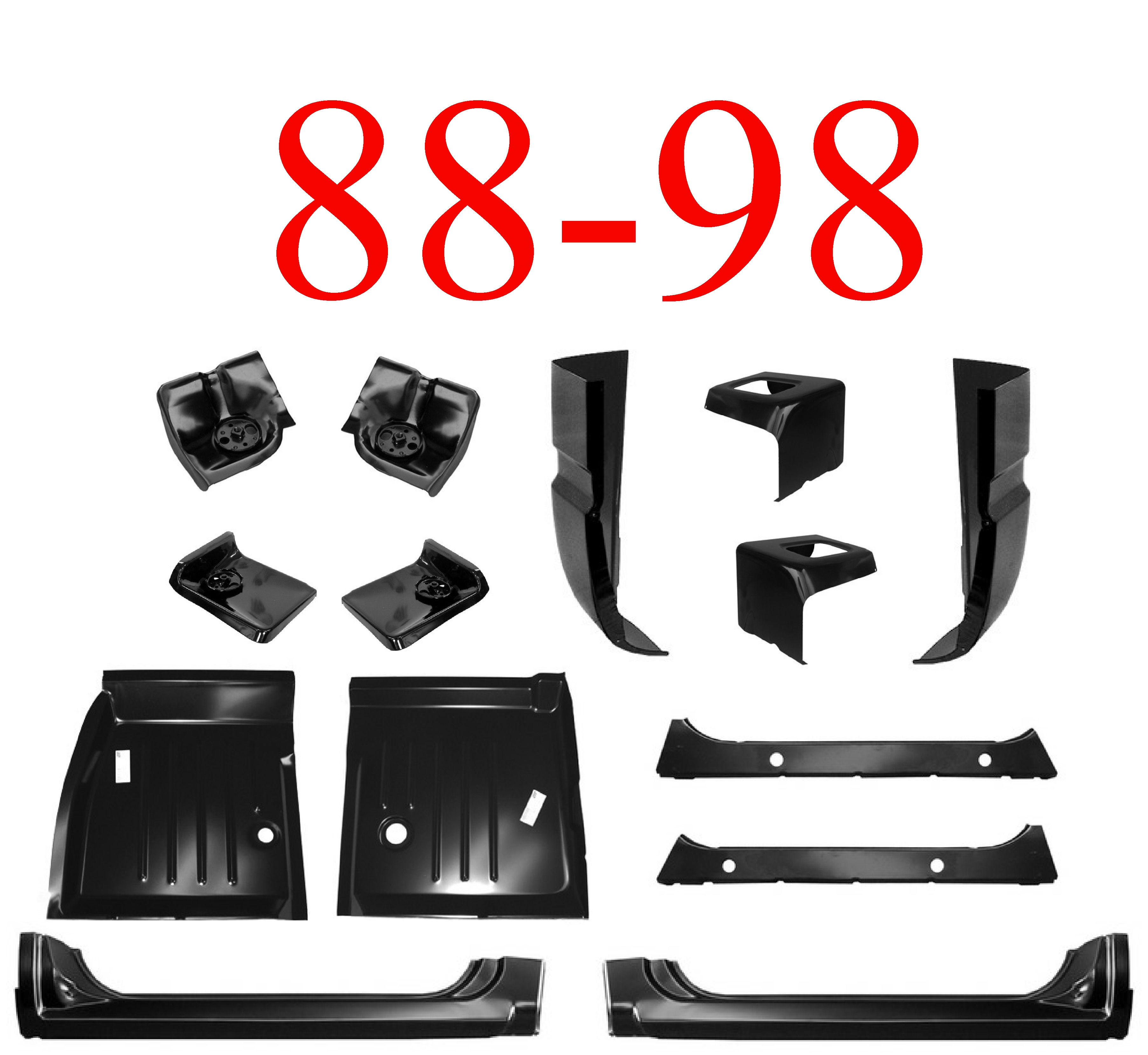 88-98 14Pc Regular Cab Kit, X-Rockers & Floors