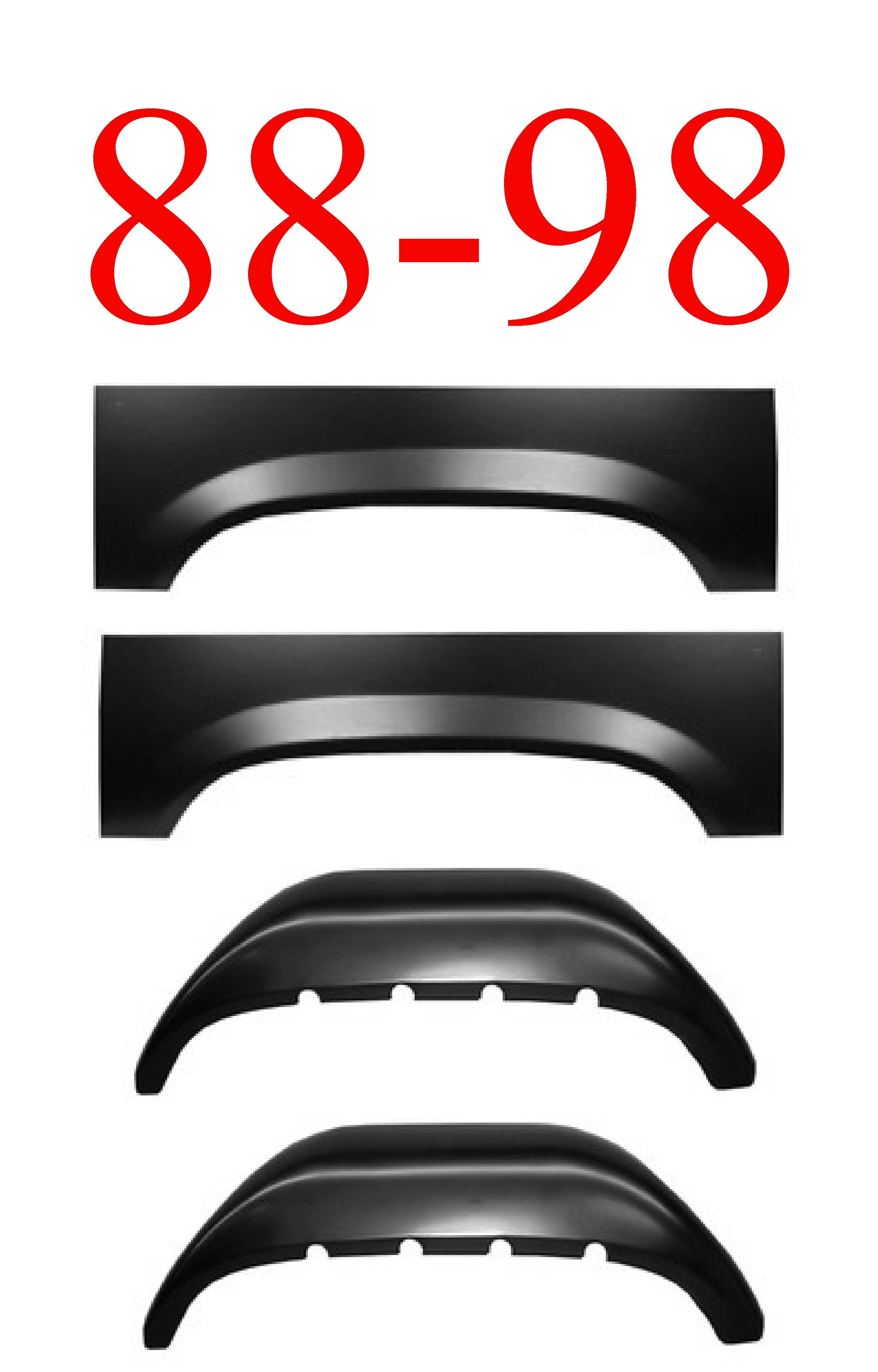 88-98 4Pc Inner & Outer Rear Wheel Arch Set