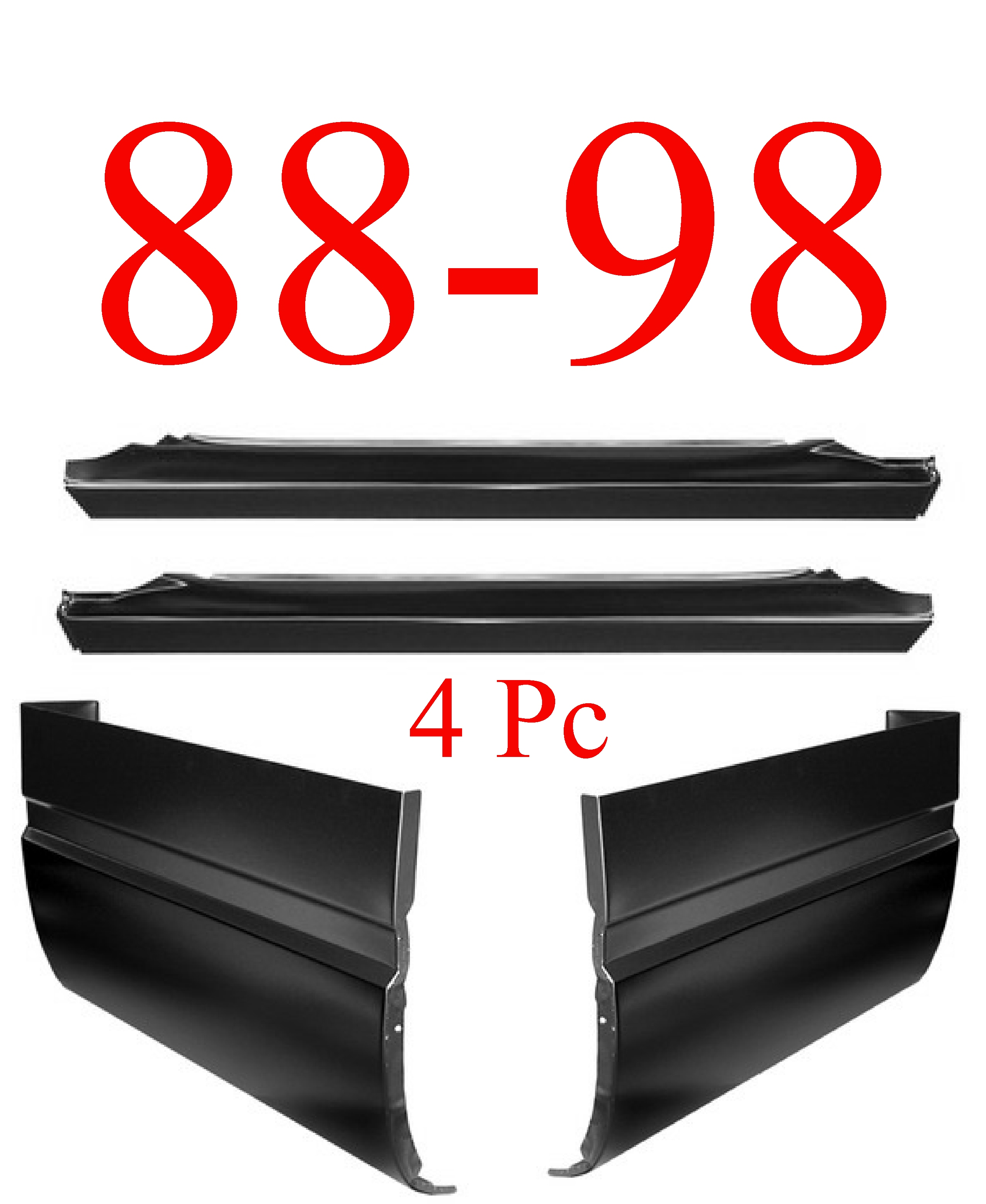 88-98 4Pc Slip-On Rocker & Extended Cab Corner Kit