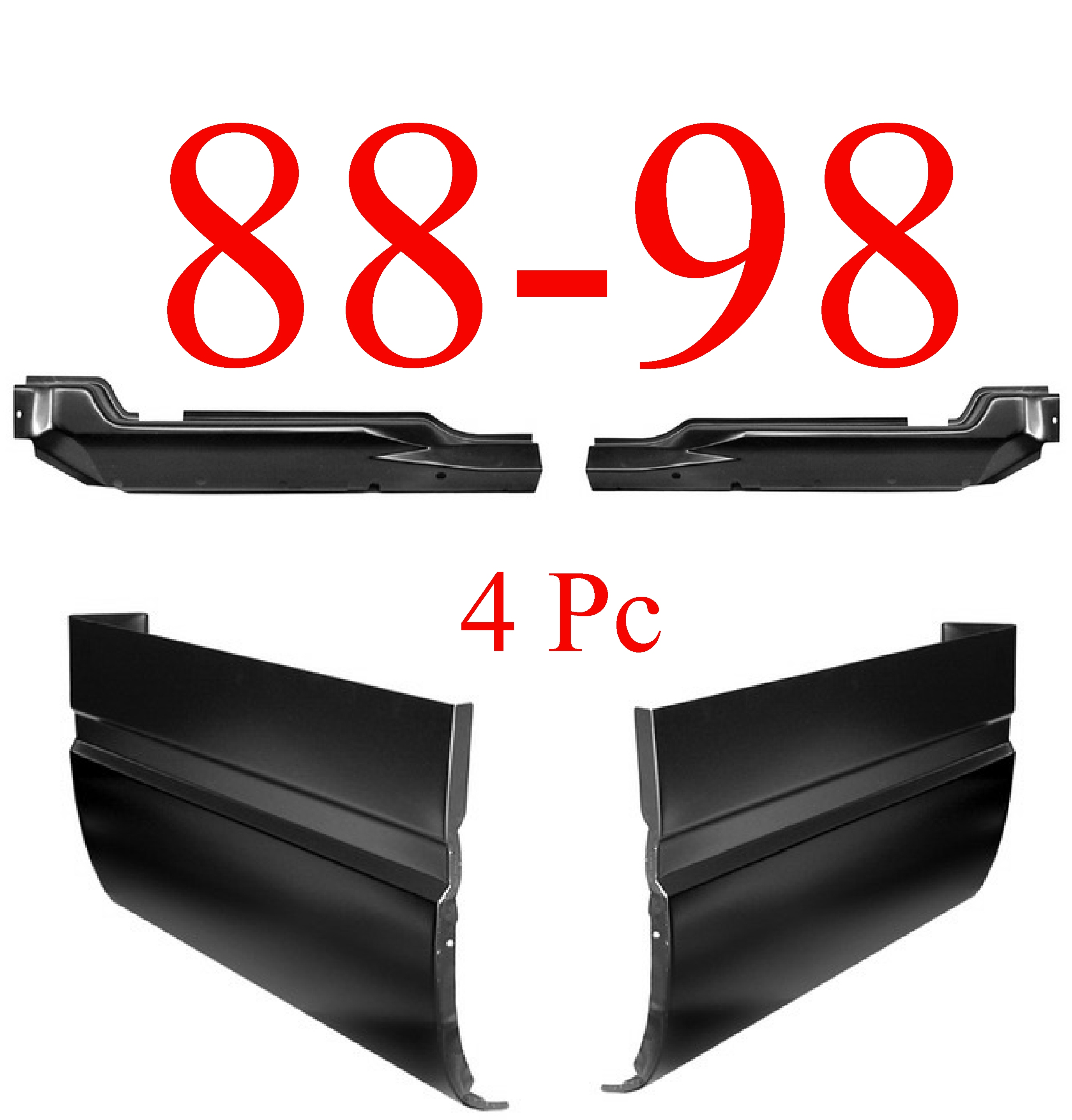 88-98 Chevy GMC 4Pc Inner & Outer Extended Cab Corner Kit