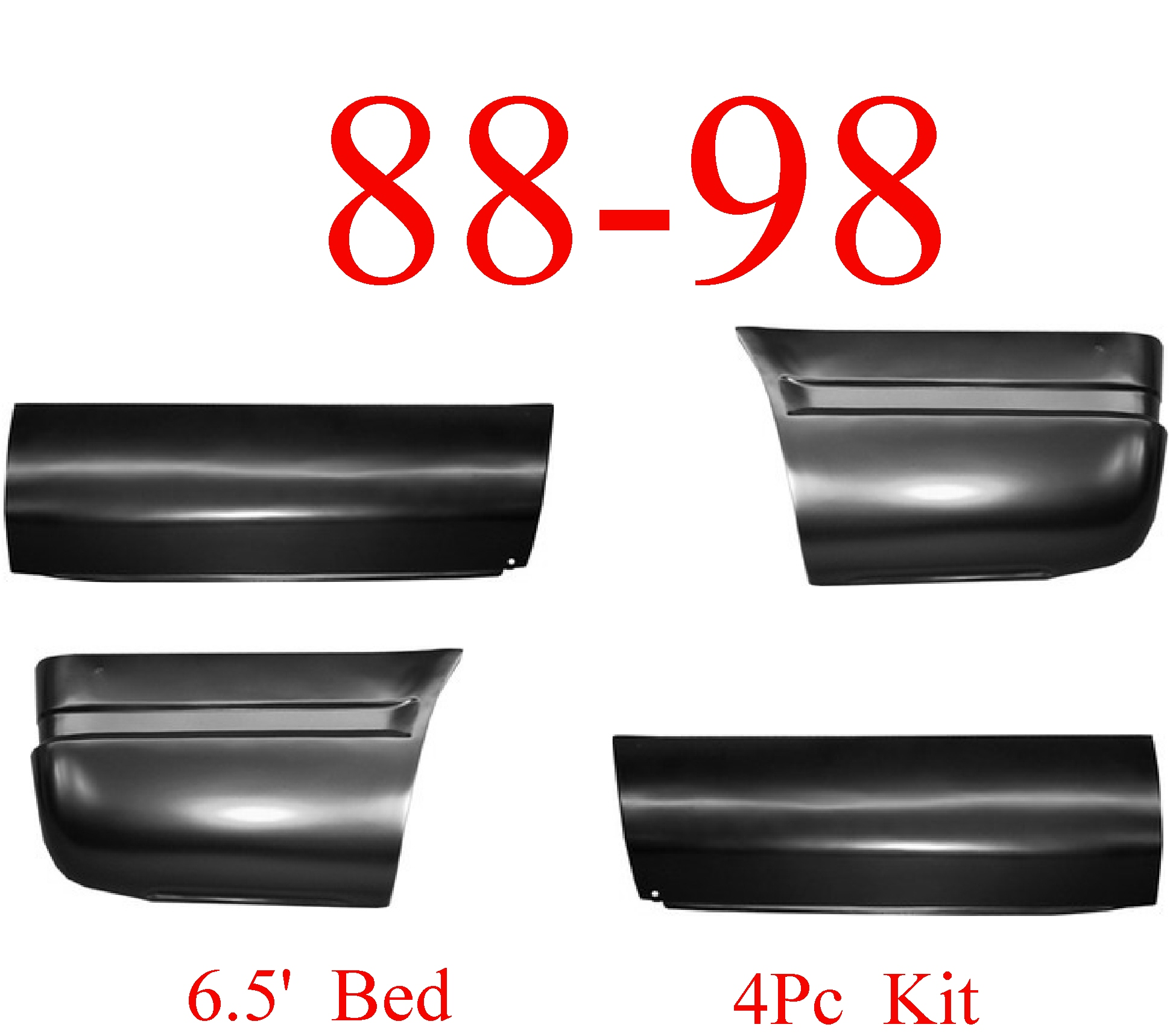88-98 Chevy 4Pc 6.5FT Lower Bed Patch Kit