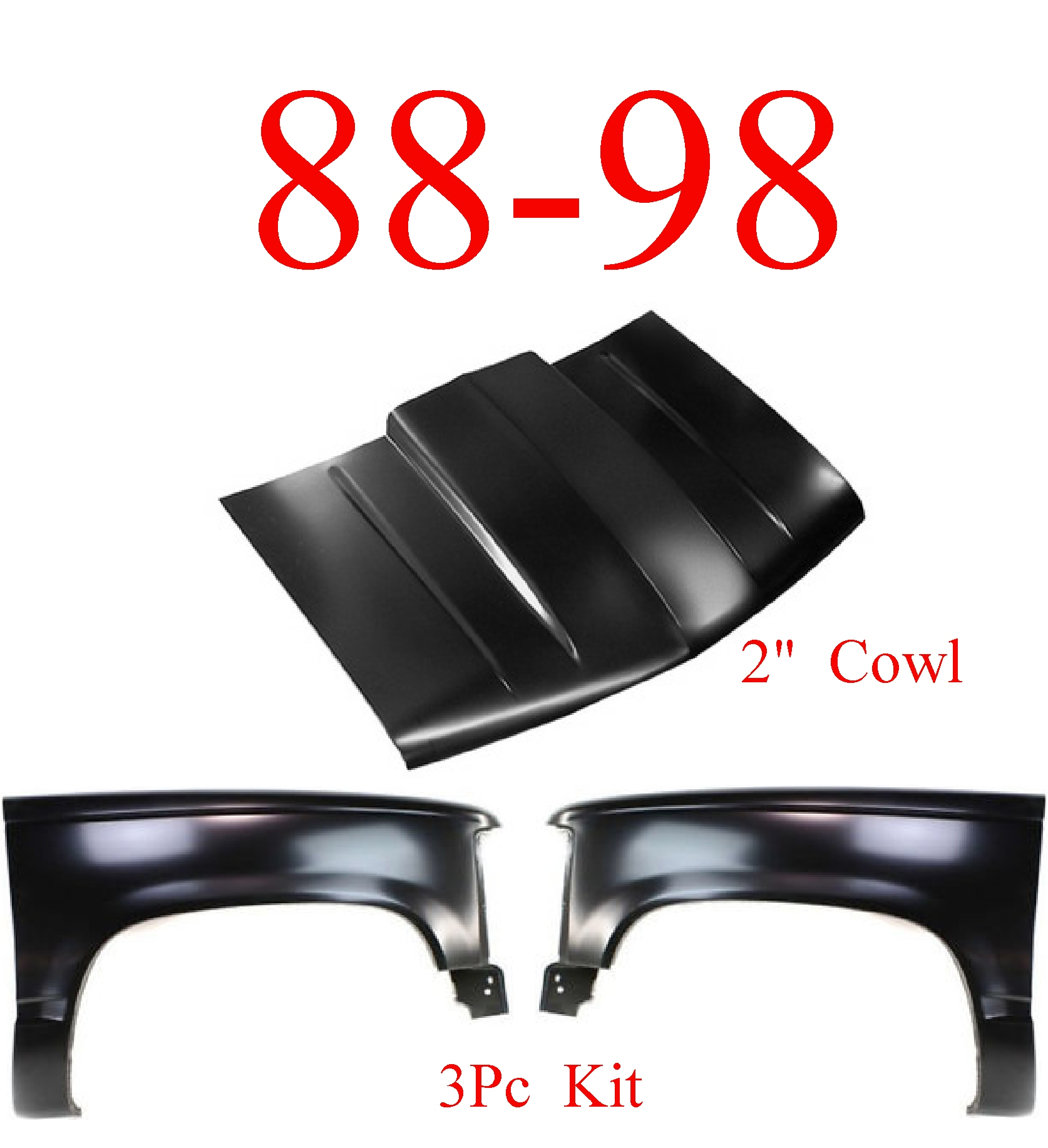 "88-98 Chevy GMC 3Pc Cowl Hood 2"" & Fender Set"