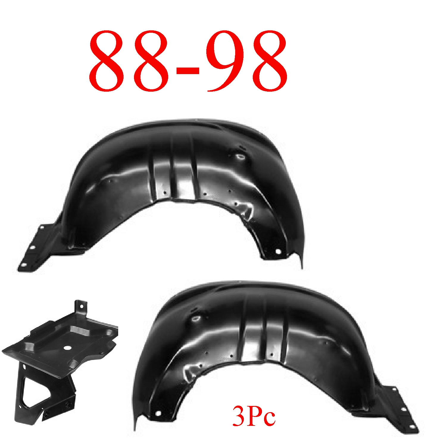 88-98 Chevy 3Pc Inner Fender & Battery Tray Kit