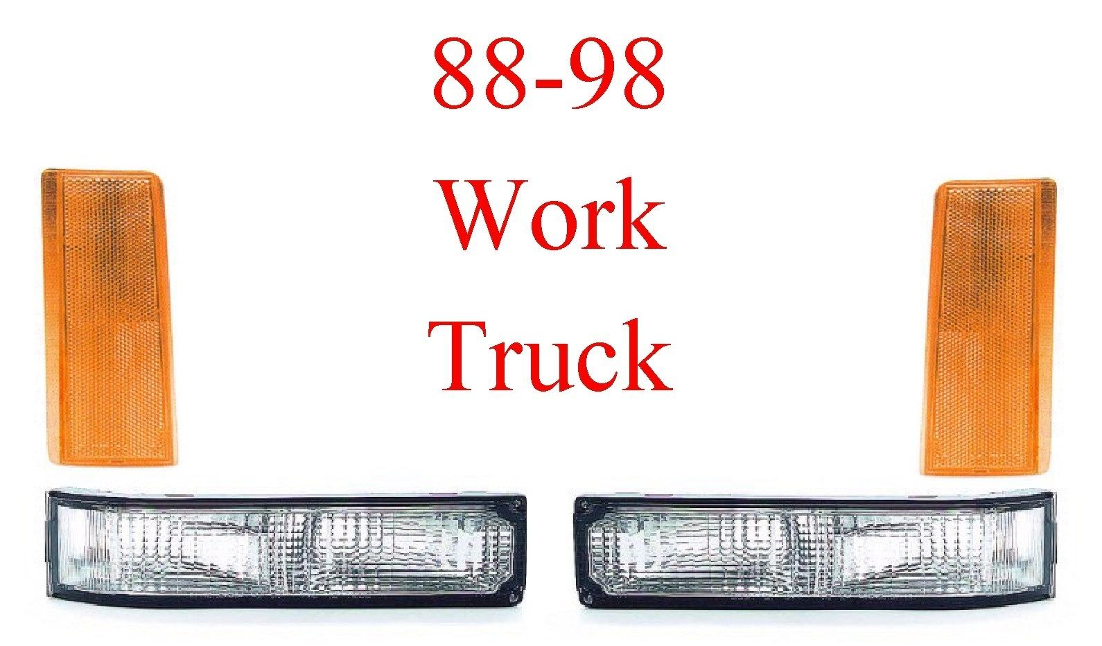 88-98 Chevy GMC 4Pc Work Truck Front Light Kit