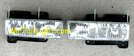 88 98 00 Chevy GMC Truck 2Pc Diamond Head Light Set