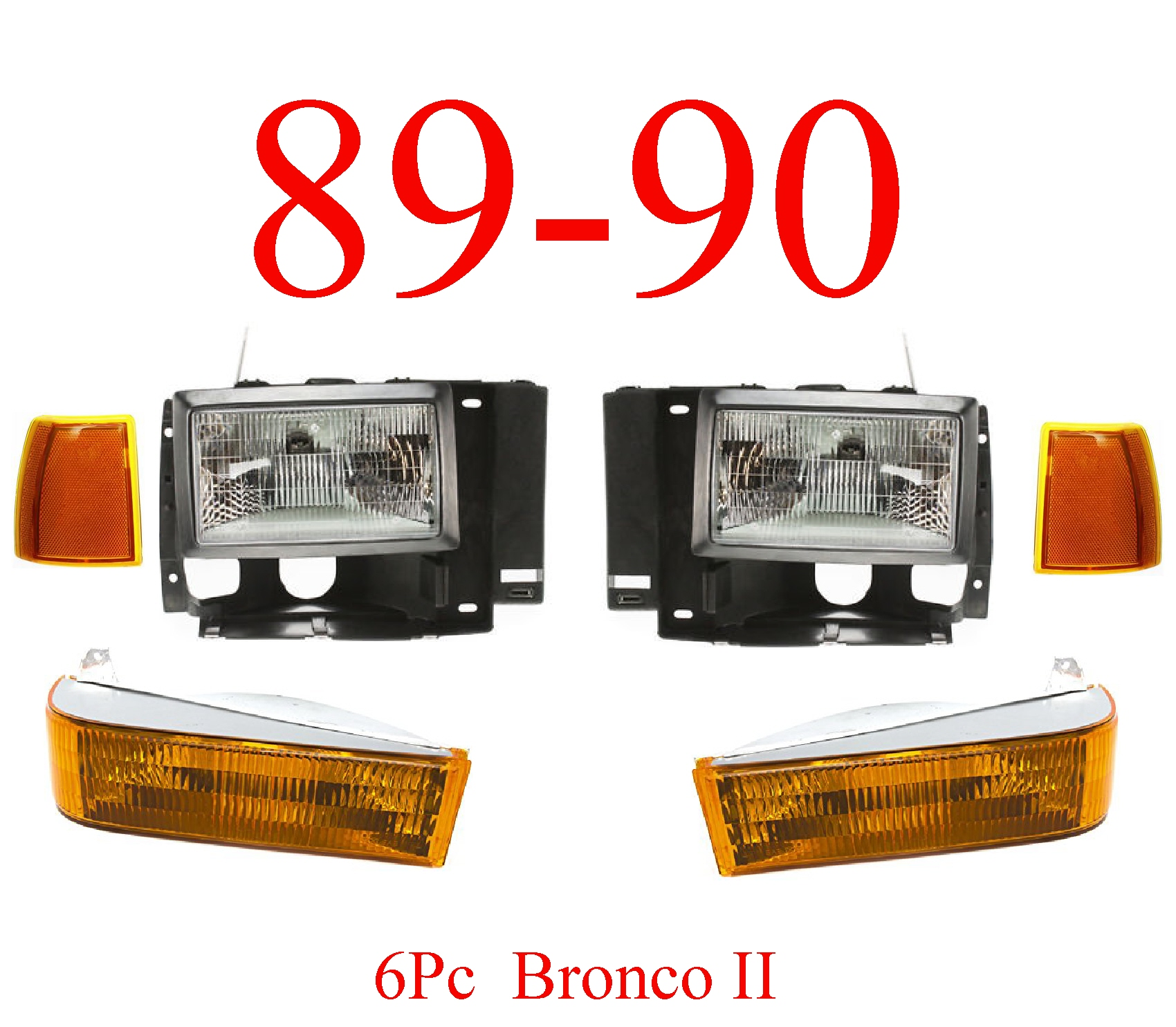 89-90 Ford Bronco II 6Pc Head Light Kit