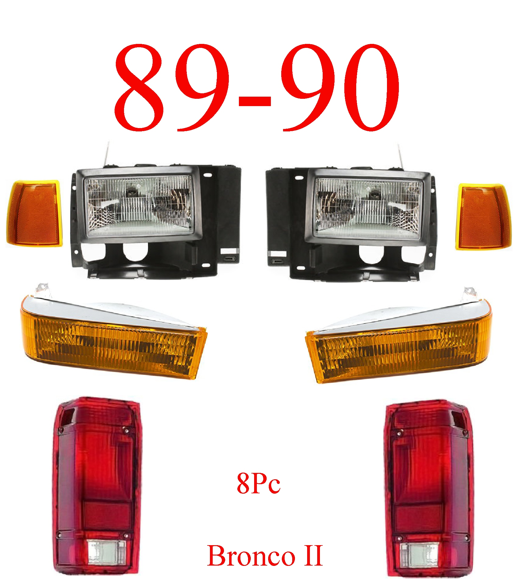 89-90 Ford Bronco II 8Pc Head & Tail Light