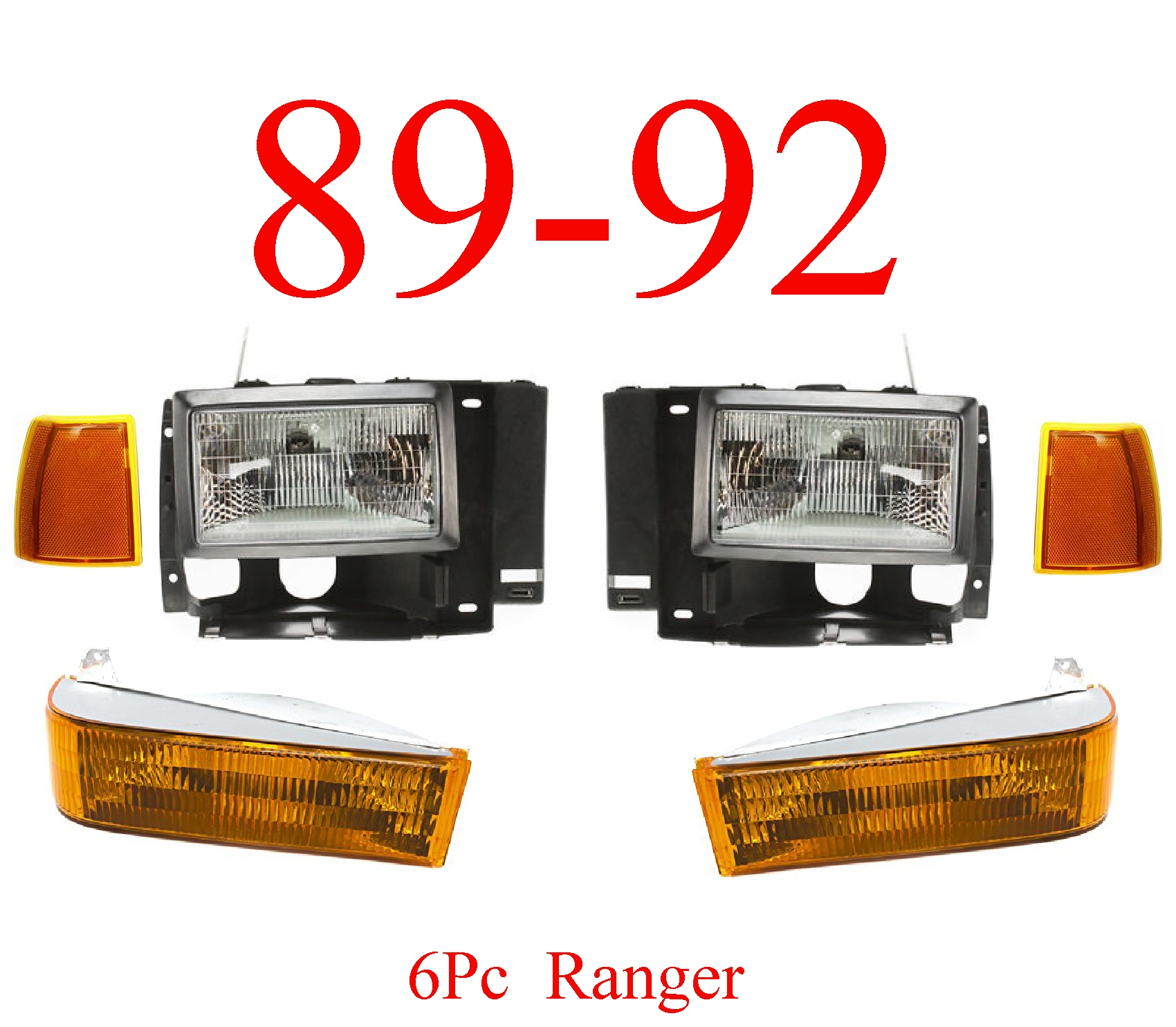 89-92 Ranger & Bronco II 6Pc Head Light Kit