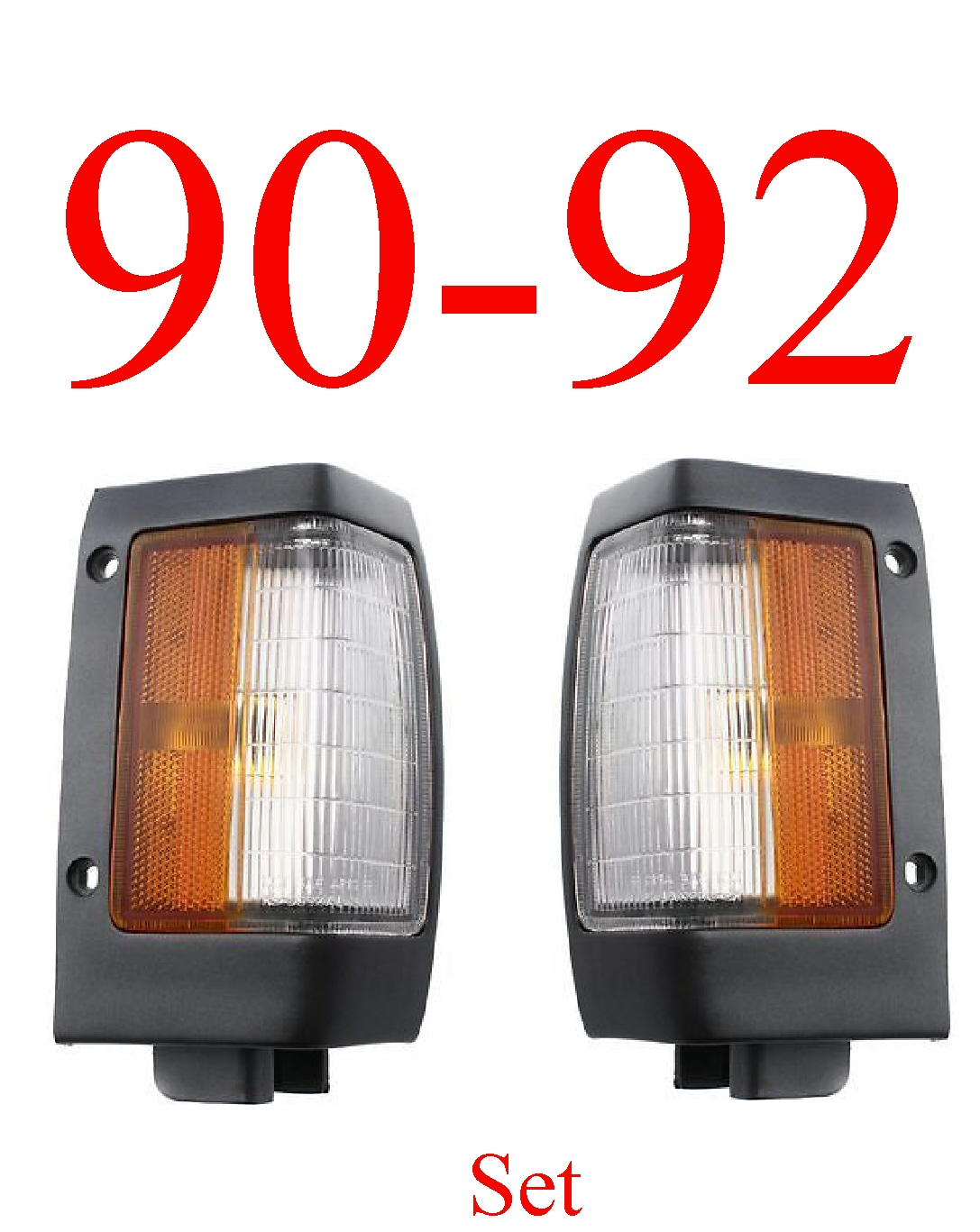 90-92 Nissan Hardbody Black Parking Light Set