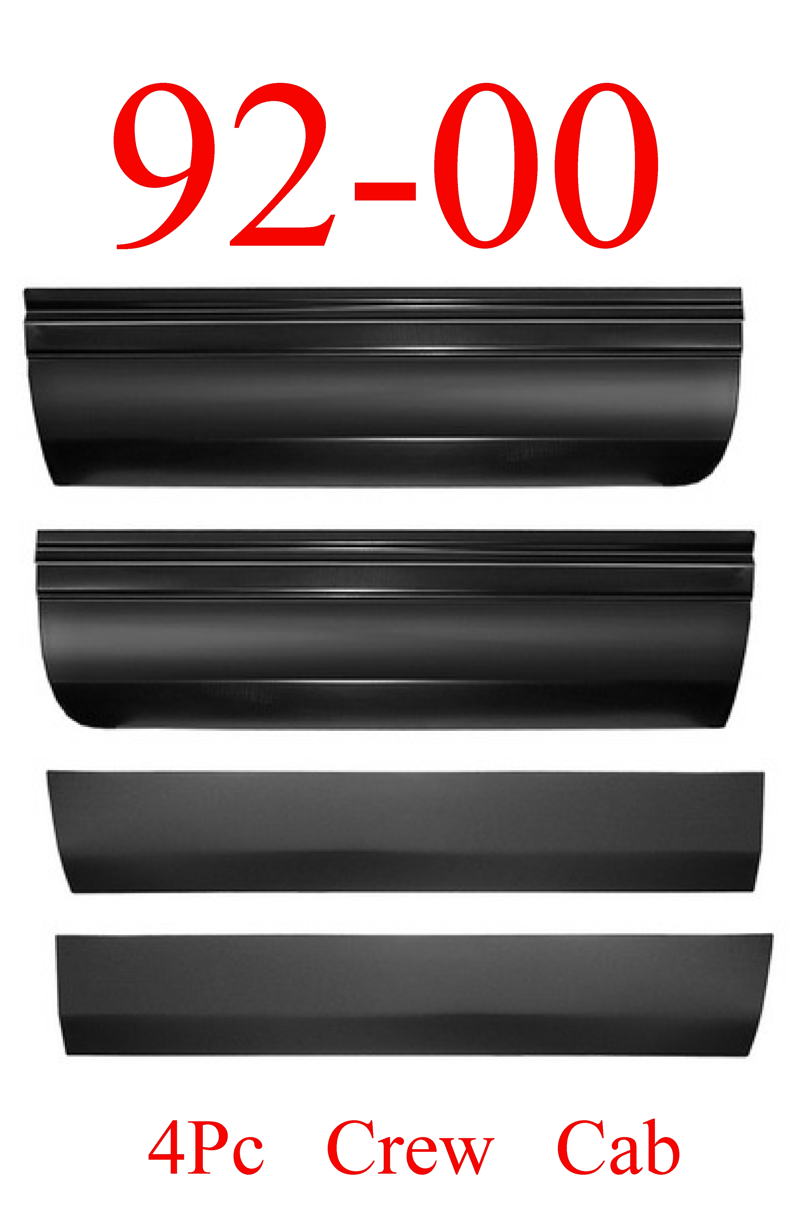 92-00 Chevy GMC Crew Cab 4Pc Lower Door Skin SET