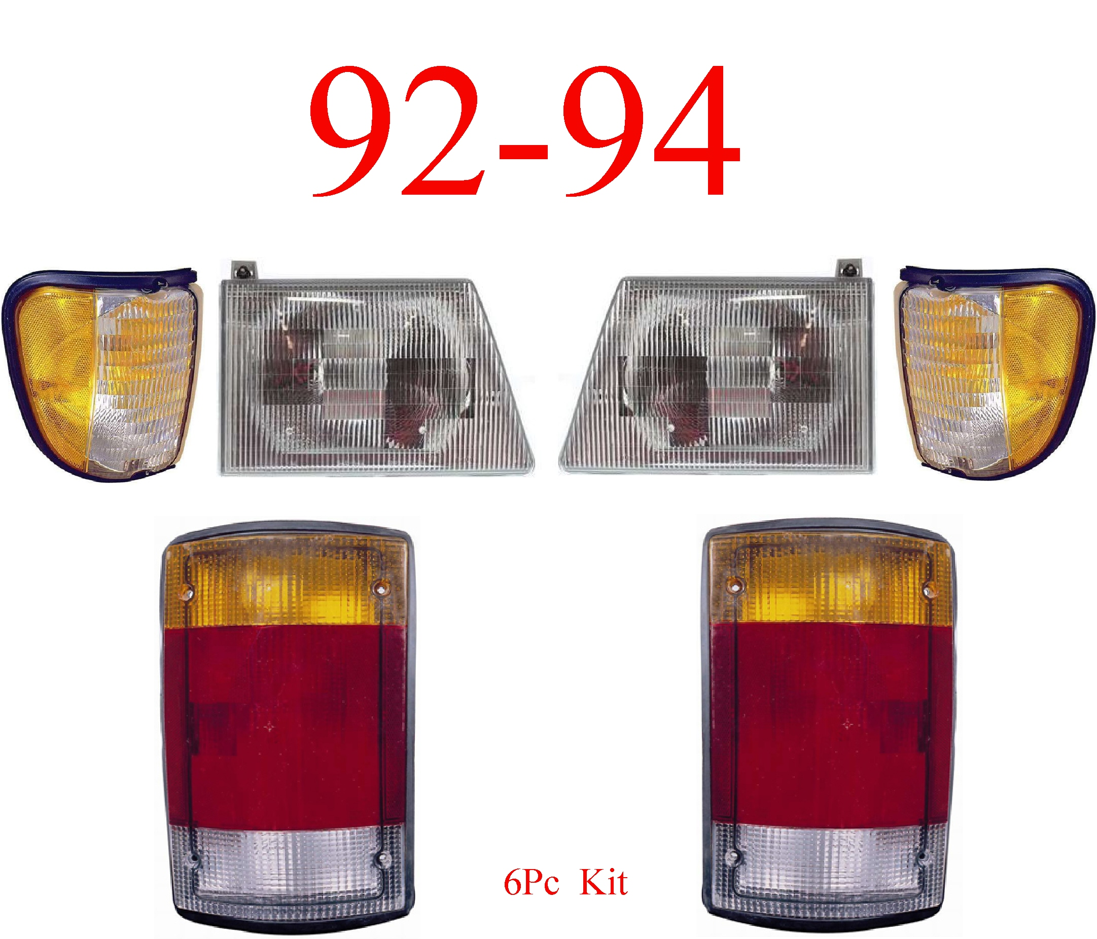 92-94 Ford Econoline 6Pc Head, Side & Tail Light Kit