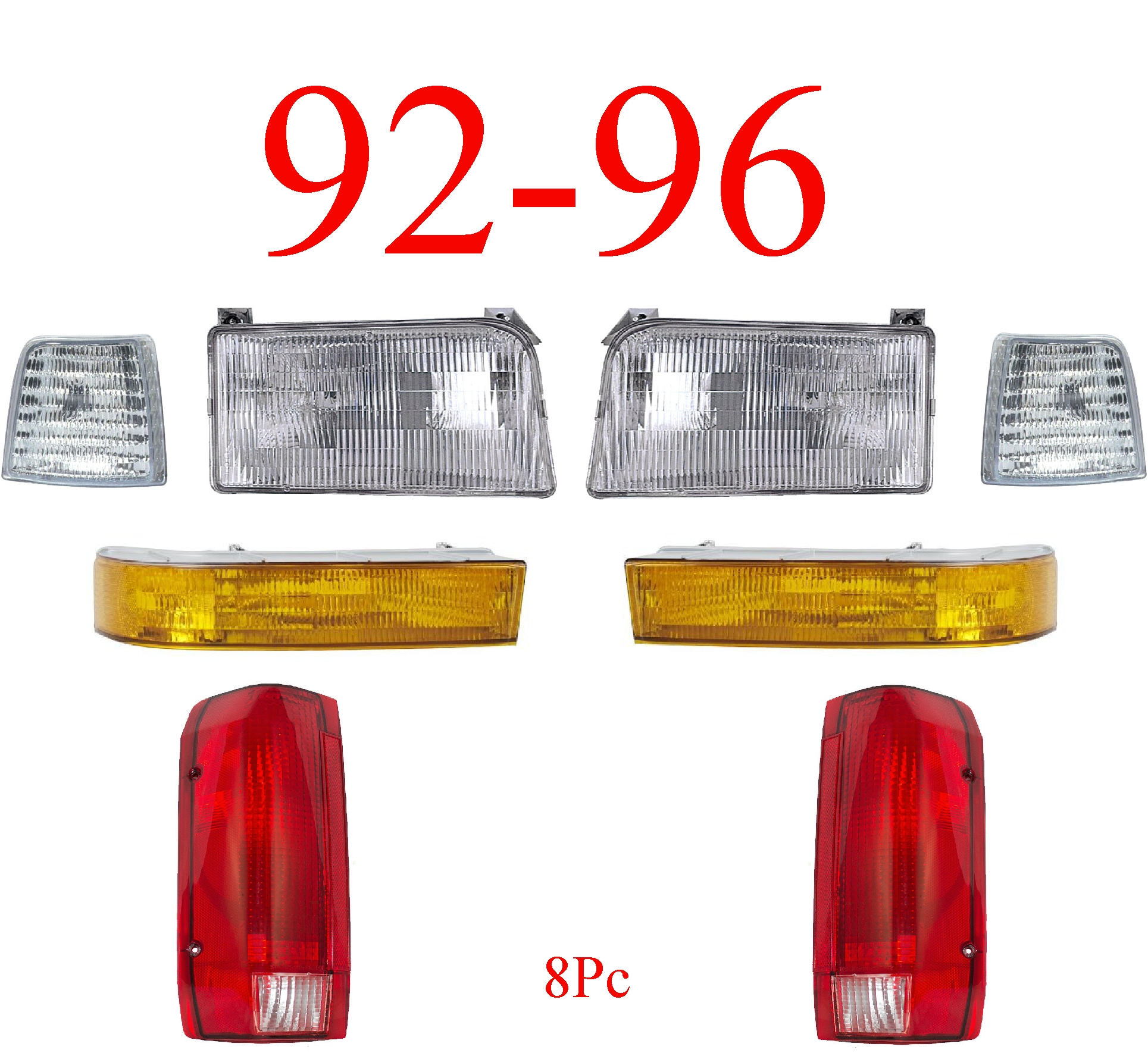 92-96 Ford 8Pc Head & Tail Light Kit
