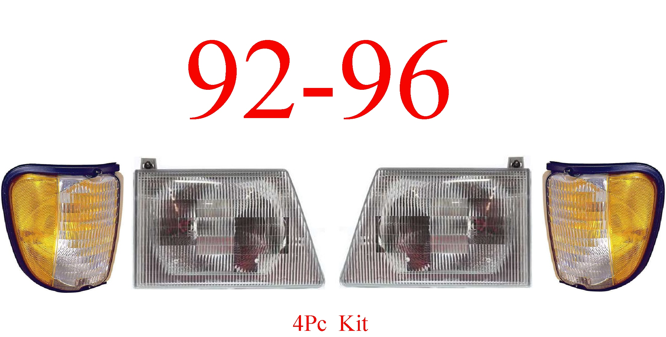 92-96 Ford Econoline 4Pc Head & Side Parking Light Kit