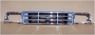 92-96 Ford Truck & Bronco 3Pc Chrome Grill & Doors Kit