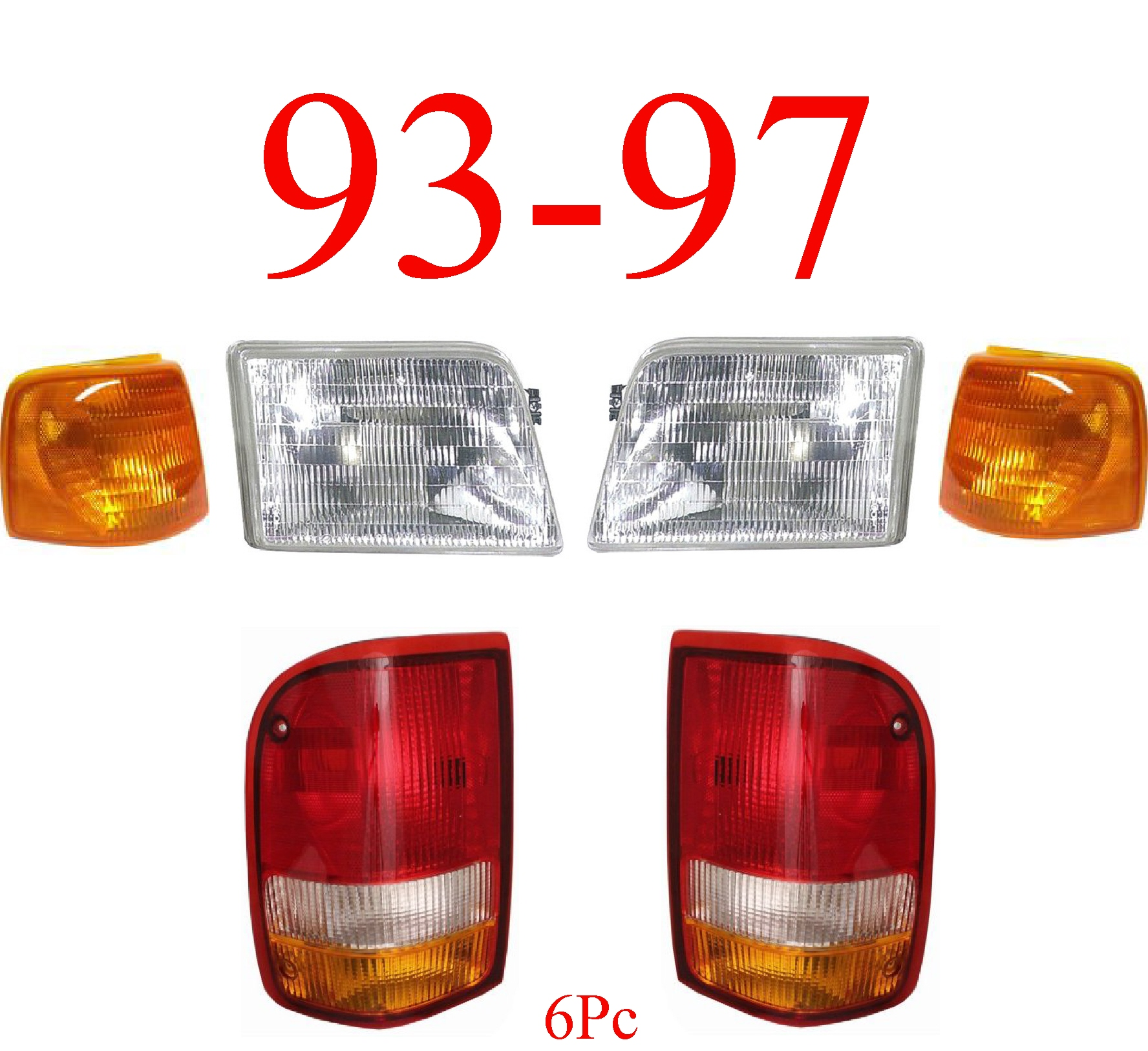 93-97 Ford Ranger 6Pc Head, Side & Tail Light Kit