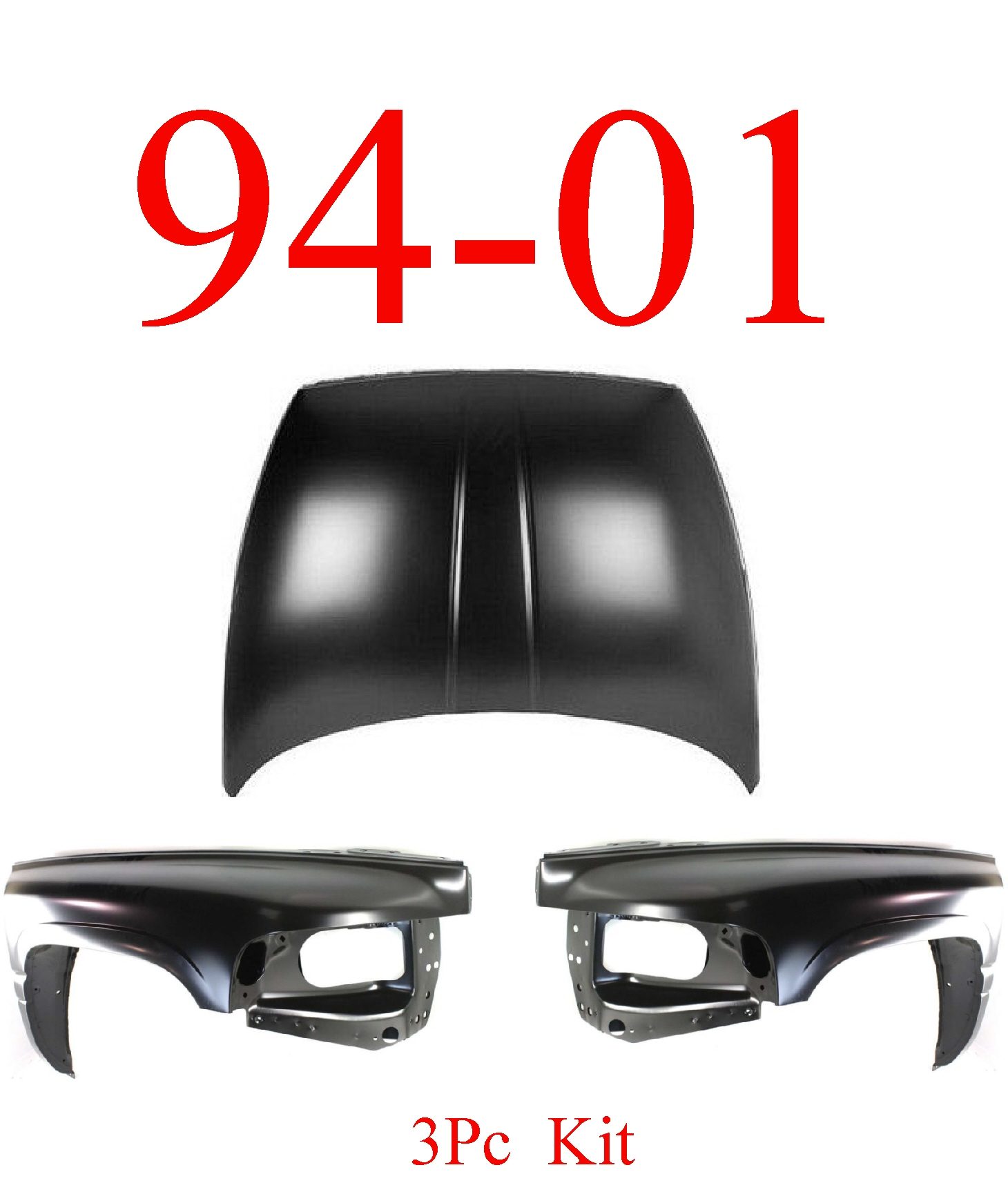 94-01 Dodge Ram 3Pc Hood & Fender Assembly Kit