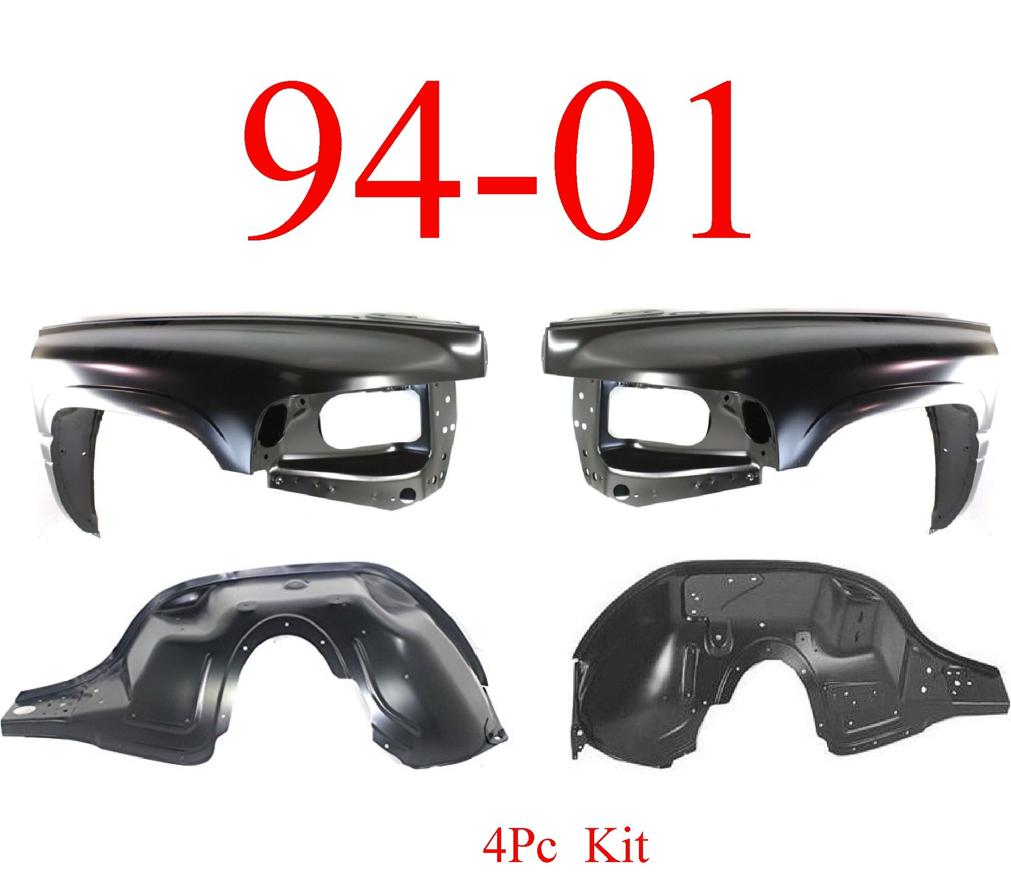 94-01 Dodge Ram 4Pc Inner & Outer Fender Assembly Kit