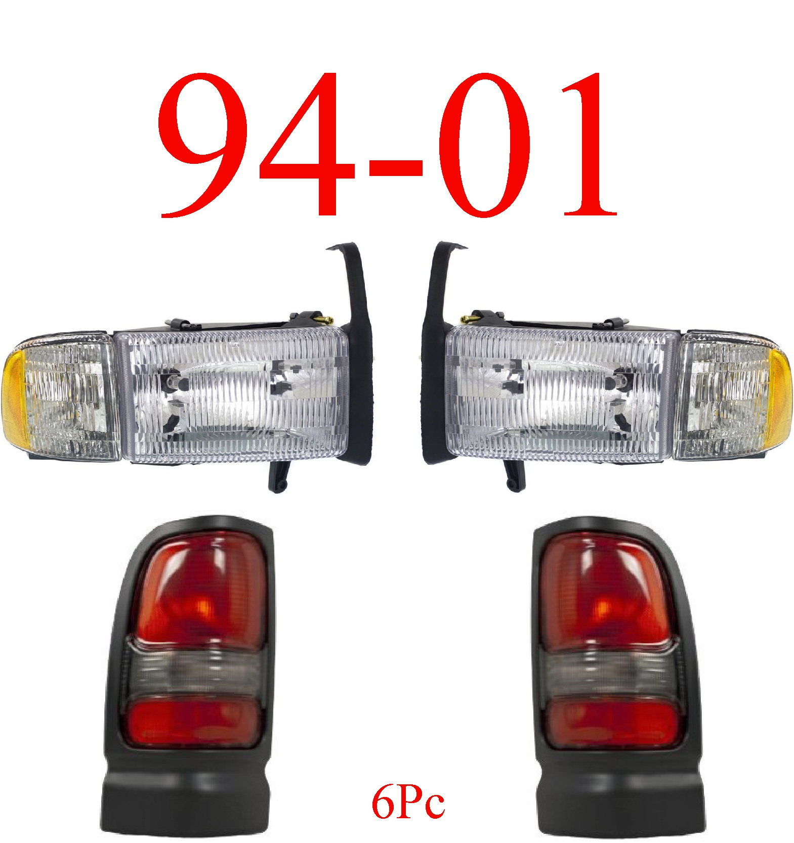 94-01 Dodge Ram 4Pc Head & Tail Light Set