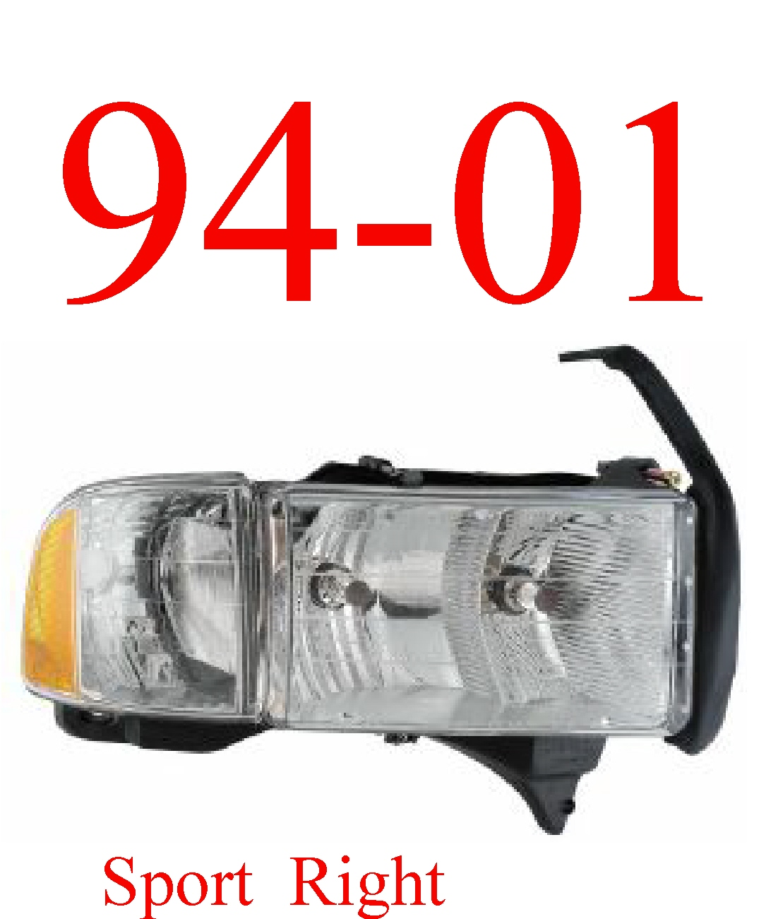 94-01 Dodge Sport 2Pc Right Head Light Assembly