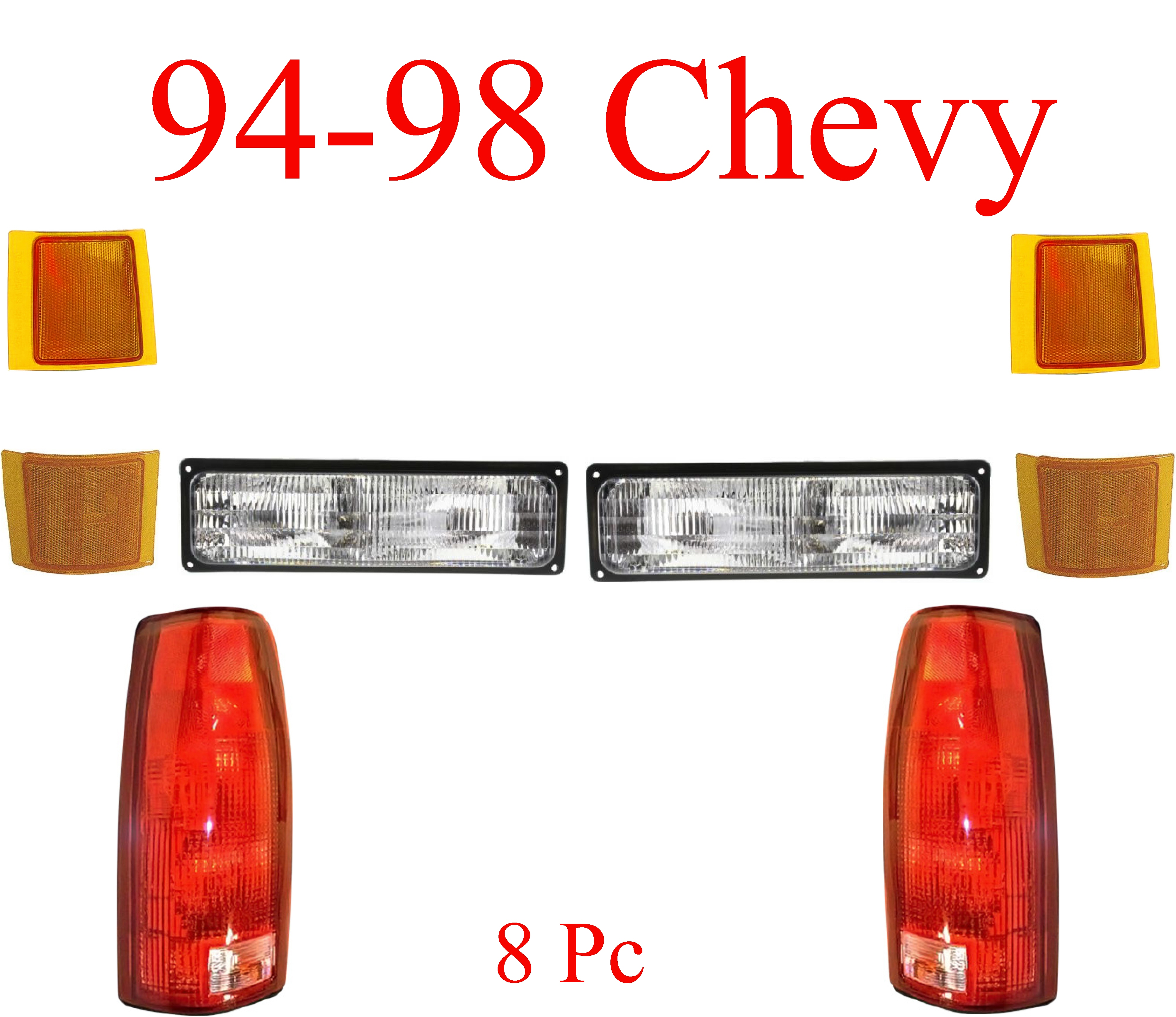 94-98 Chevy 8Pc Tail Light Kit Front & Rear