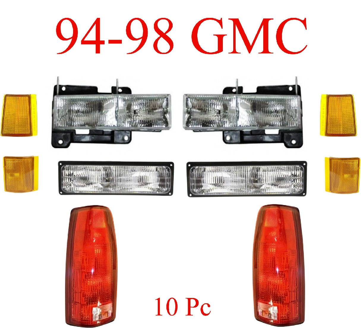 94-98 GMC 10Pc Light Kit Front & Rear