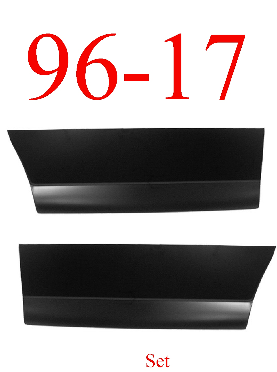 96-17 Chevy Express Front Outer Door Skin Bottom Set