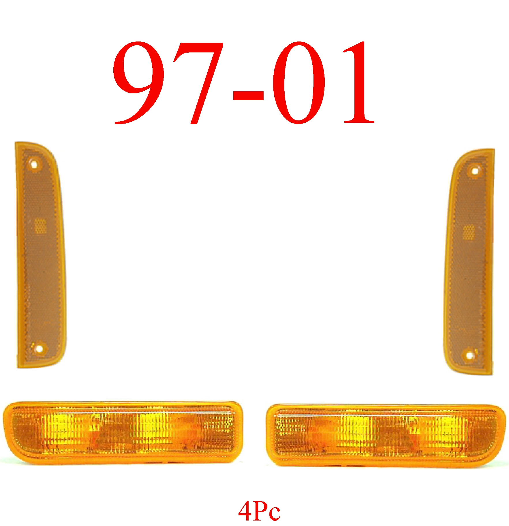 97-01 Jeep Cherokee 4Pc Park & Side Lights
