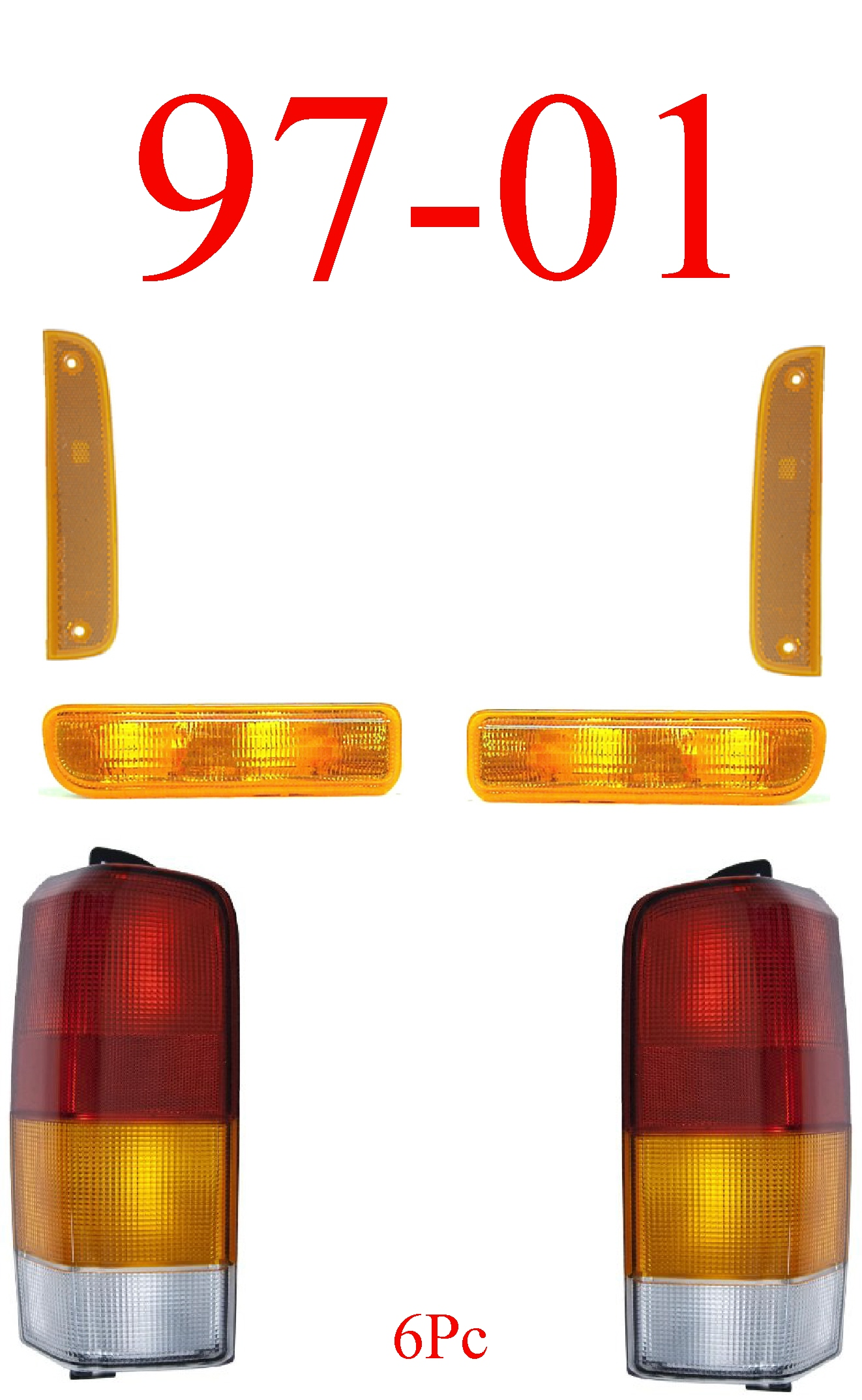 97-01 Jeep Cherokee 6Pc Tail Light With Front Lights