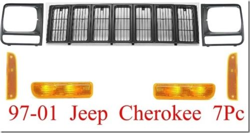 97 01 Jeep Cherokee 7Pc Black Grill Kit