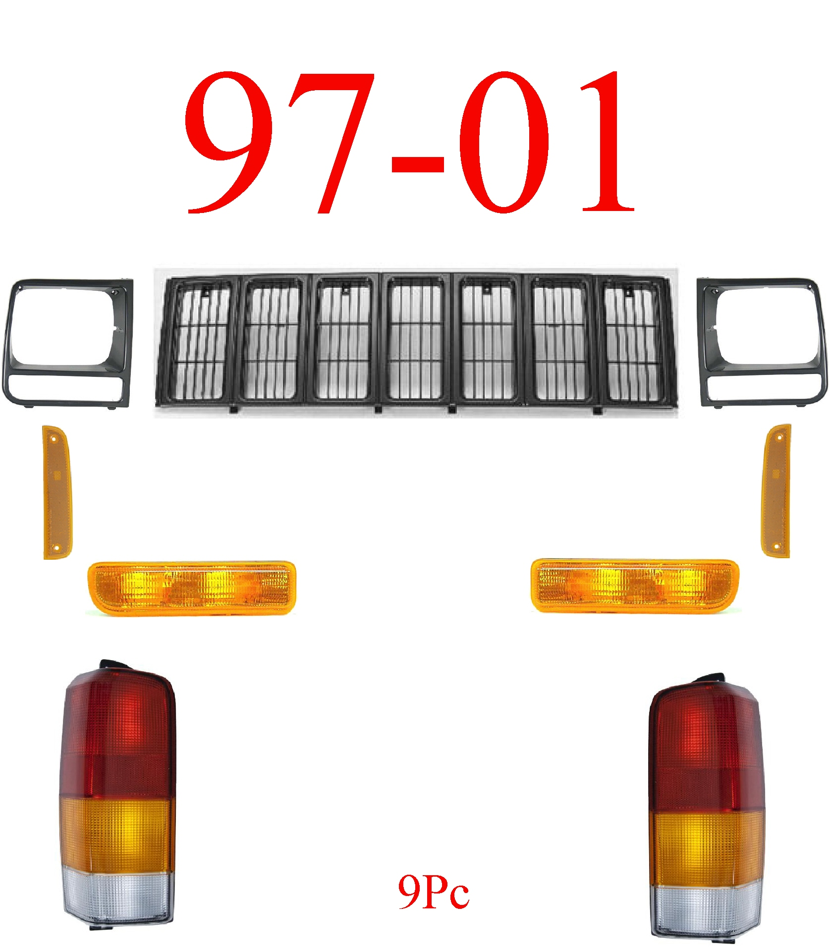 97-01 Jeep Cherokee 9Pc Grill, Doors & Tail Light