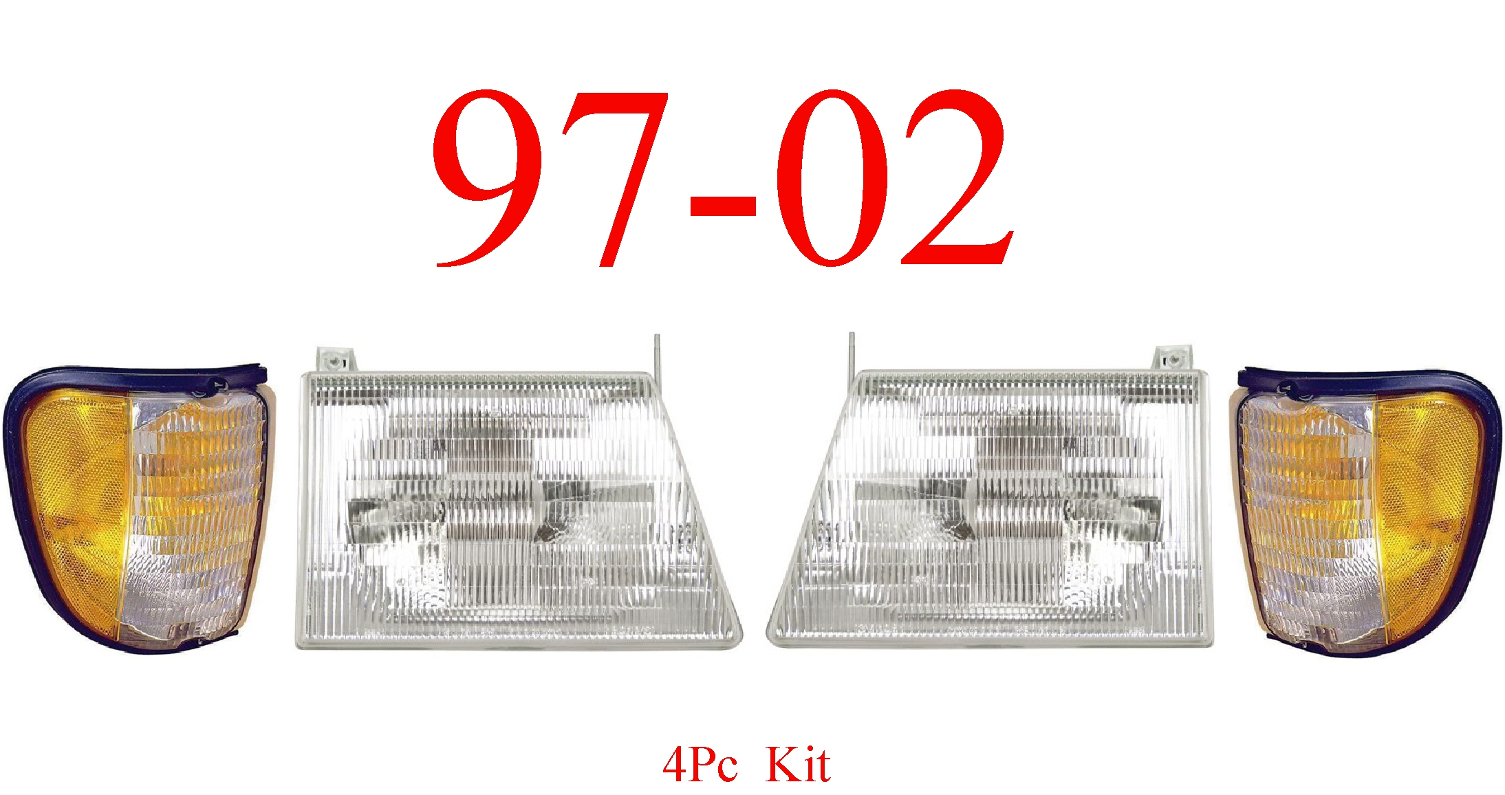 97-02 Ford Econoline 4Pc Head & Side Parking Light Kit