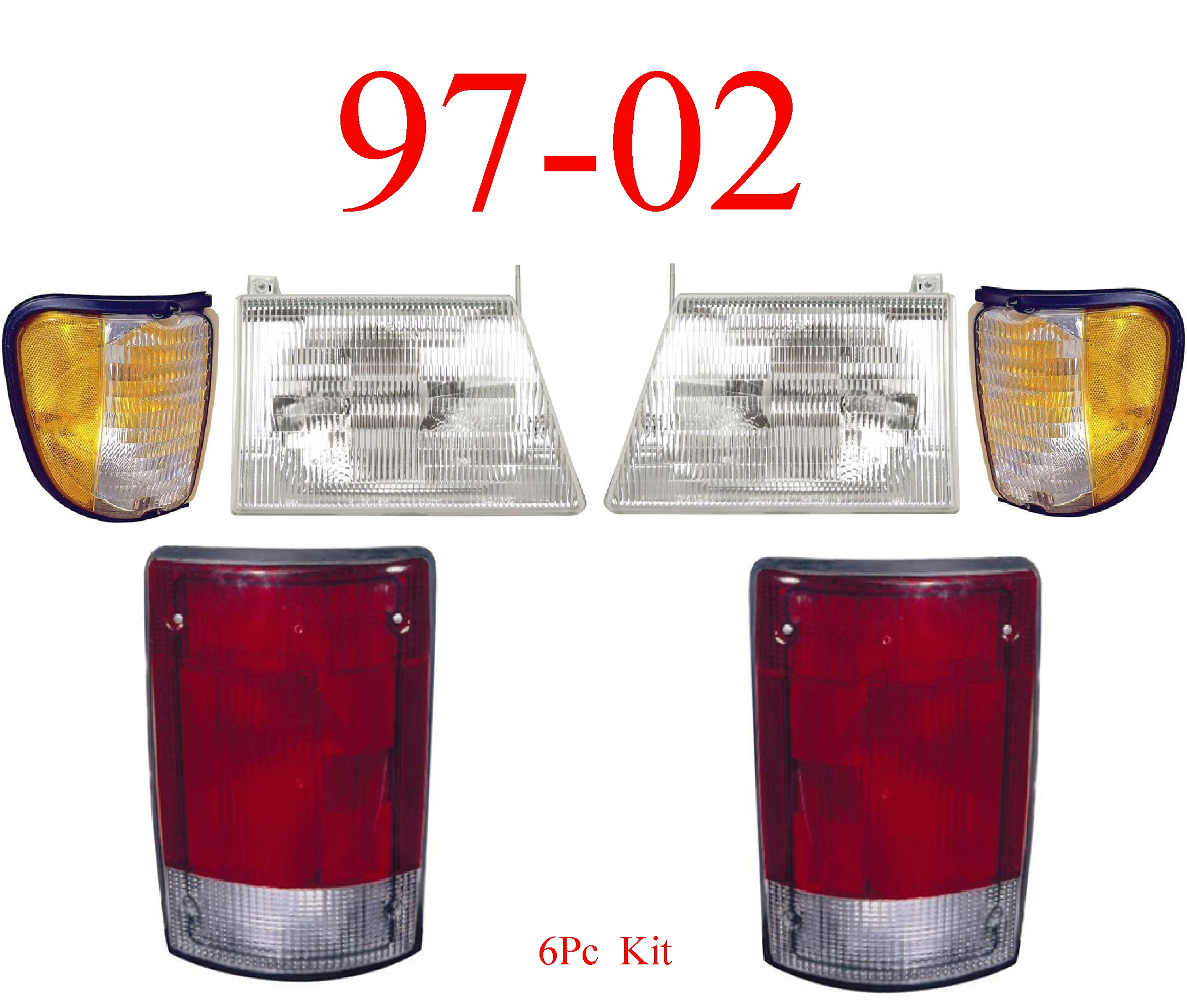 97-02 Ford Econoline 6Pc Head, Side & Tail Light Kit