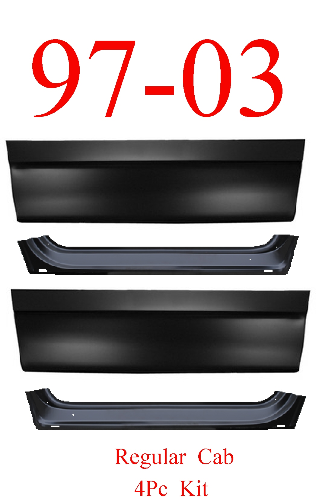 97-03 F150 Regular Cab 4Pc Inner & Outer Door Bottom Kit