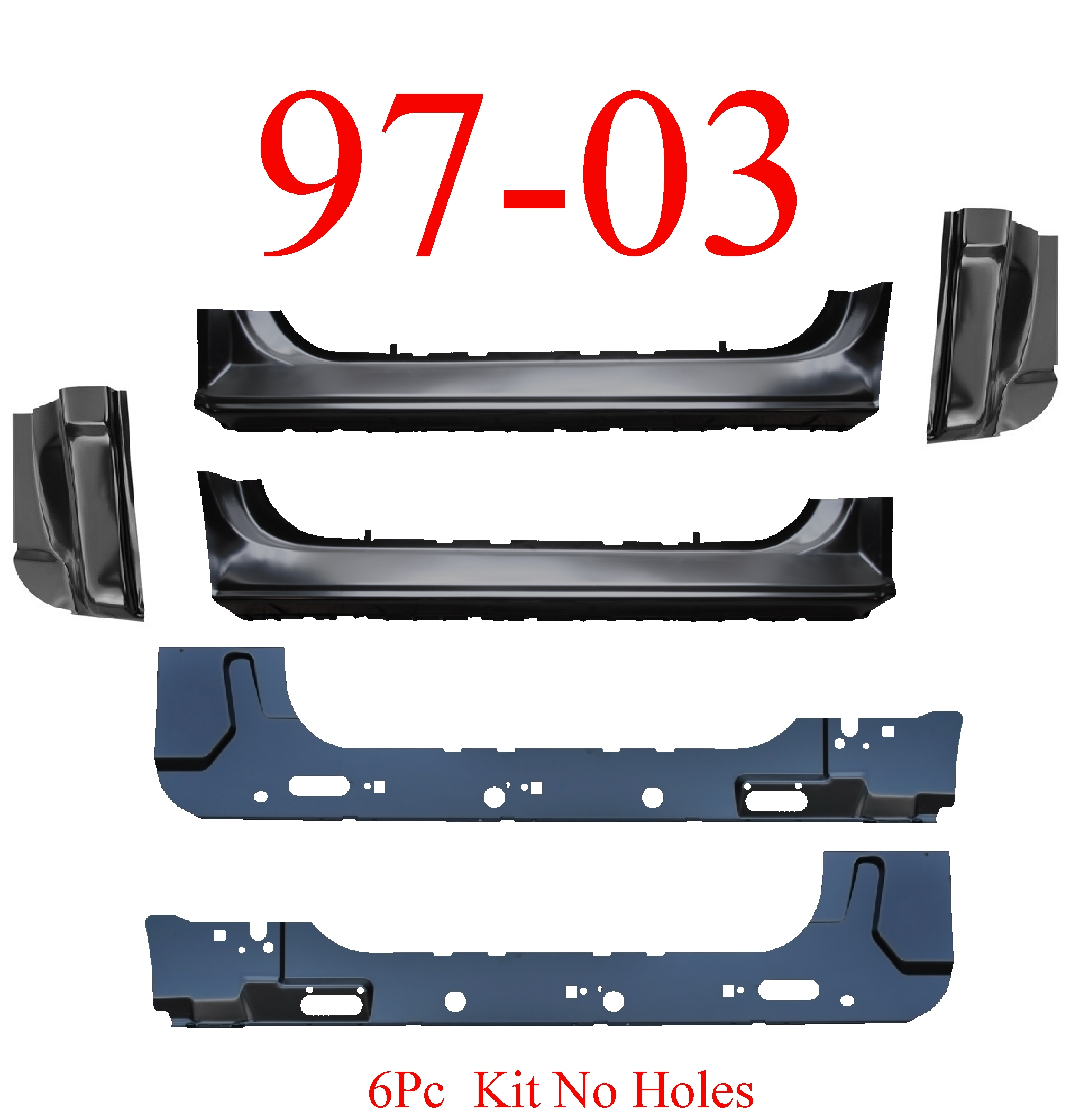 97-03 F150 6Pc Extended Rocker, Inner & Cab Corner Kit No Holes