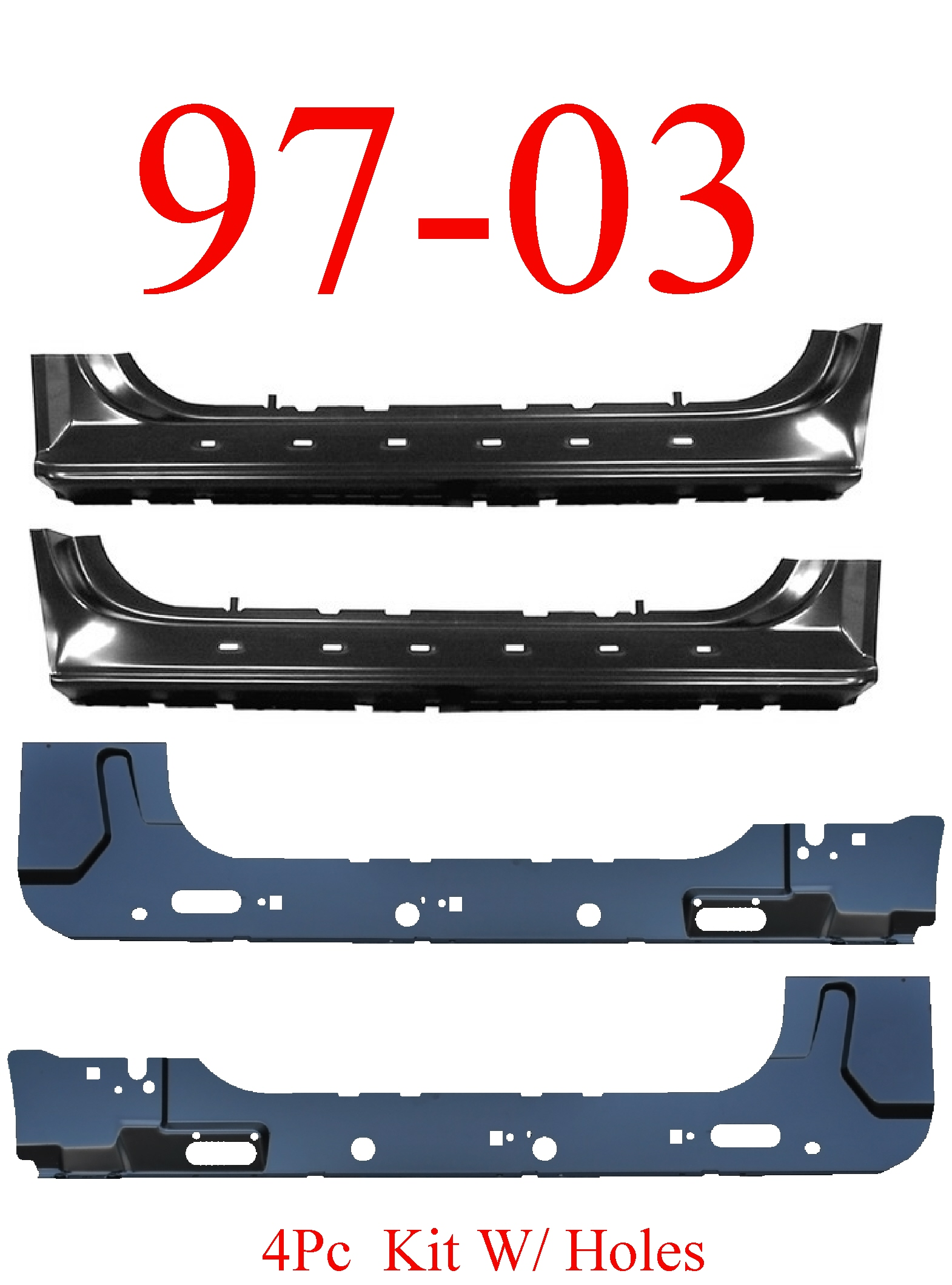97-03 F150 4Pc Extended Rocker & Inner Rocker Kit W/ Holes