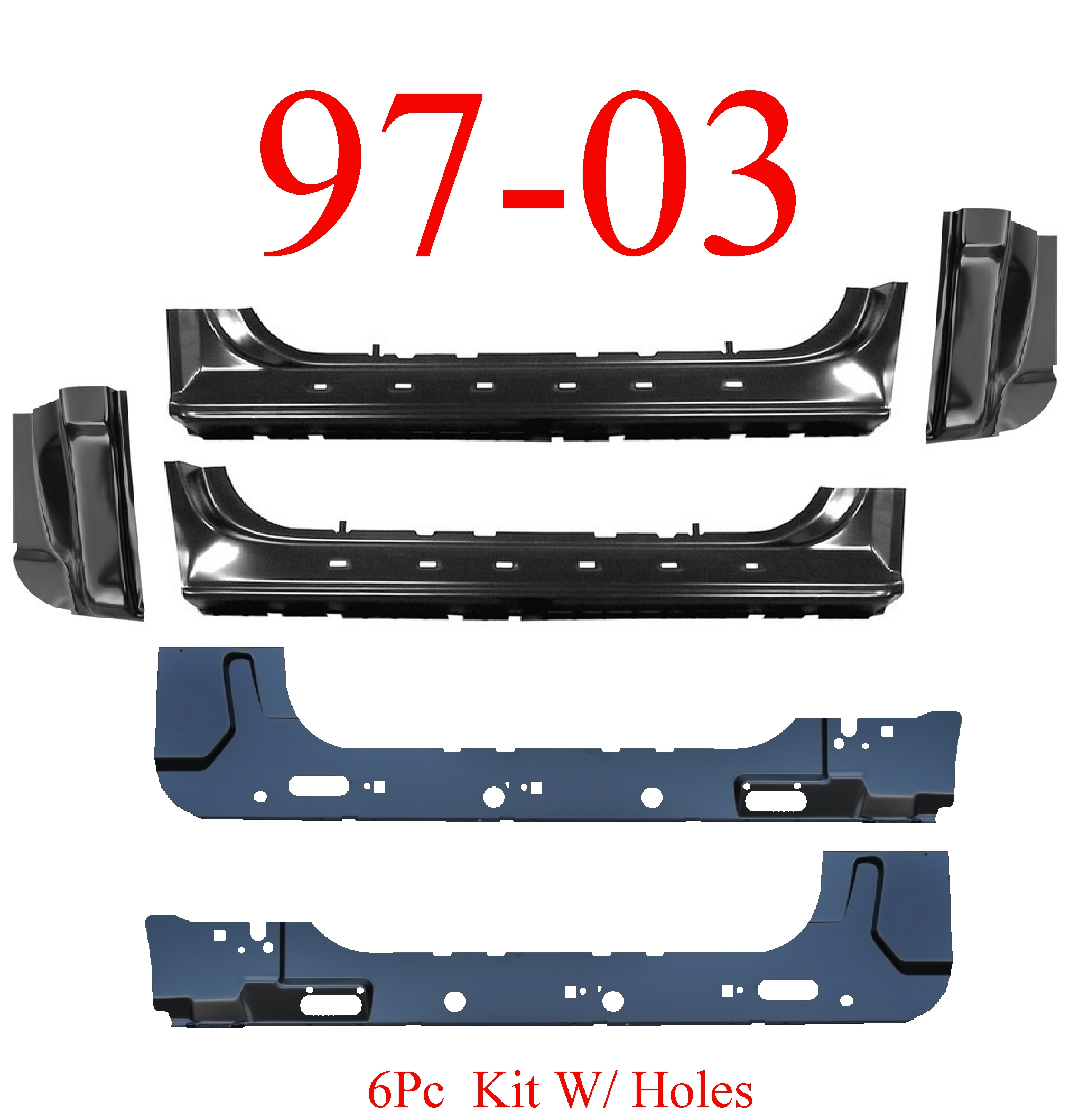 97-03 F150 6Pc Extended Rocker, Inner & Cab Corner Kit W/ Holes
