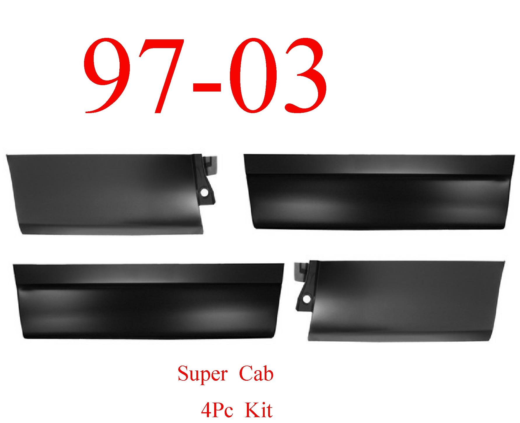 99-03 Ford Super Cab 4Pc Outer Door Bottom Skin Set