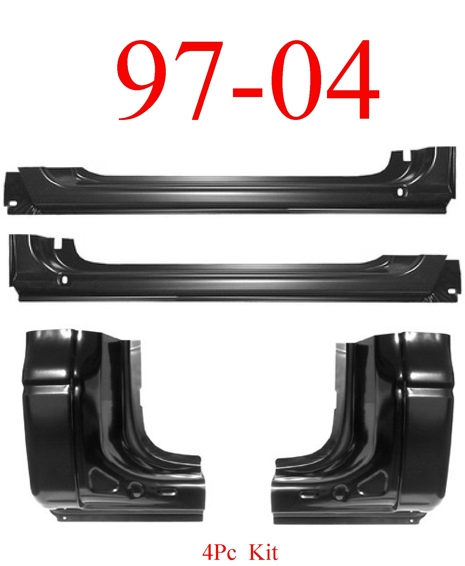 97-04 Dodge Dakota 4Pc Rocker & Regular Cab Corner Kit