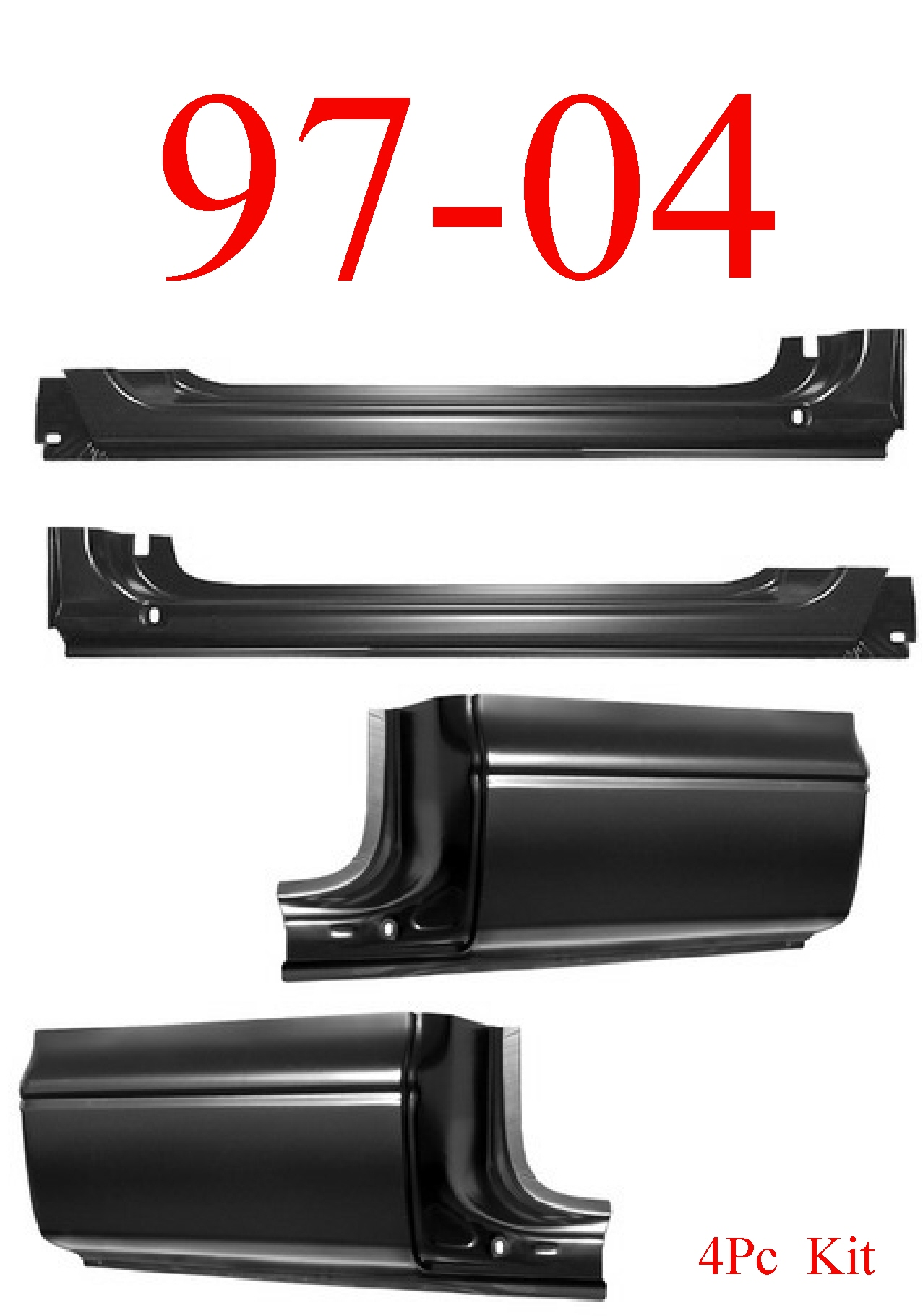 97-04 Dodge Dakota 4Pc Rocker & Extended Cab Corner Kit
