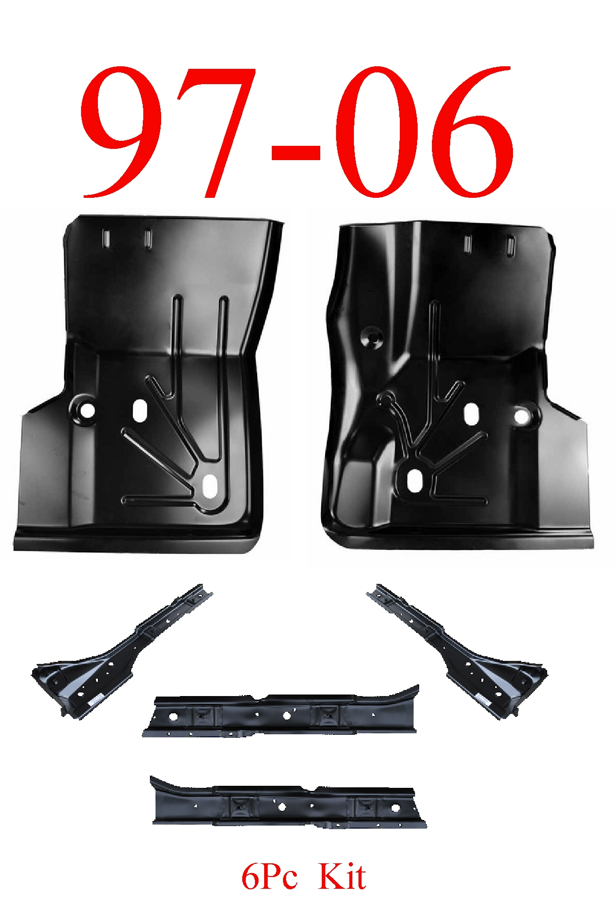 97-06 Jeep Wrangler TJ 6Pc Floor Pan, Brace & Torque Box Kit