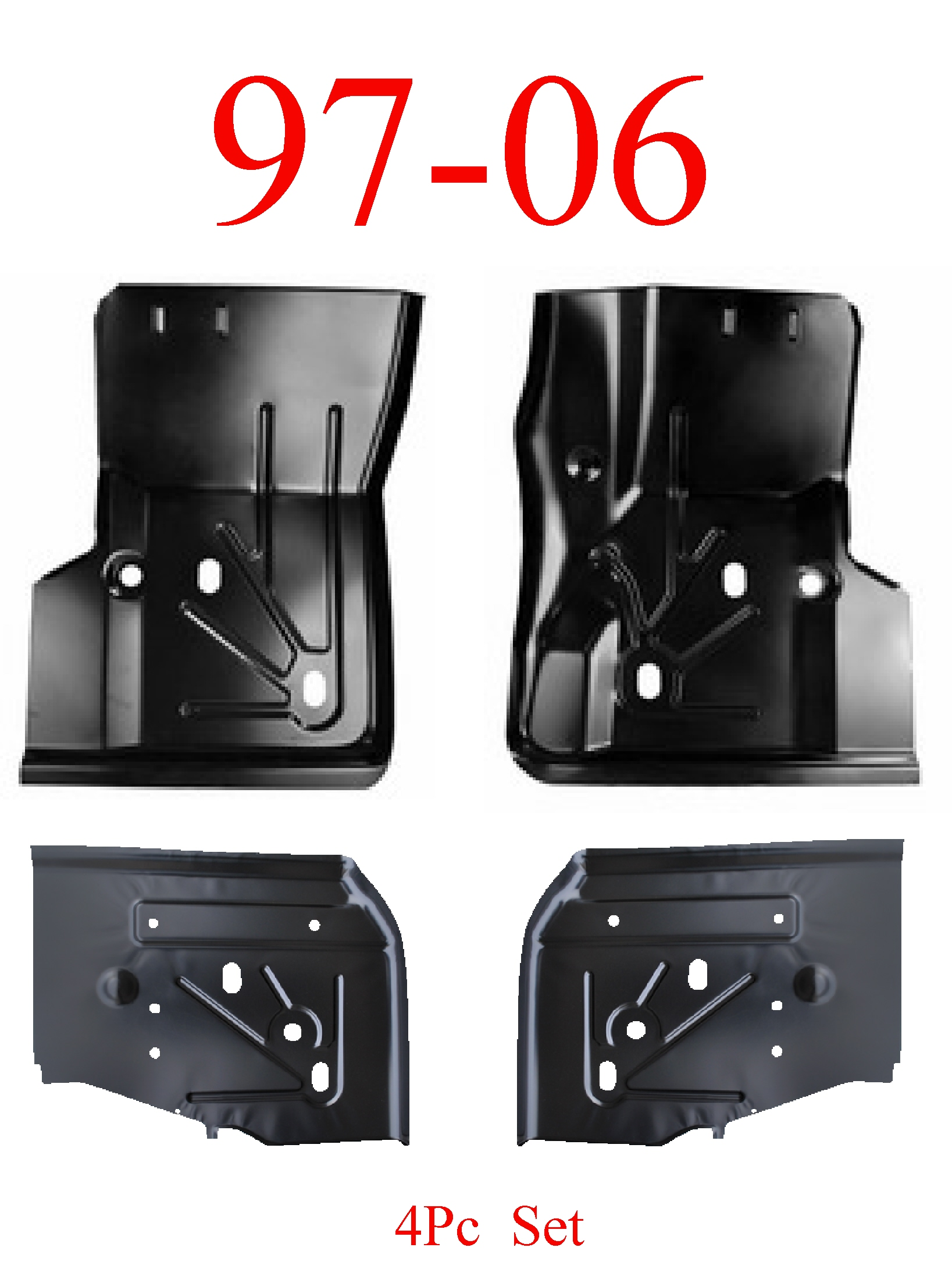 97-06 Jeep Wrangler TJ 4Pc Front & Rear Floor Pan Kit