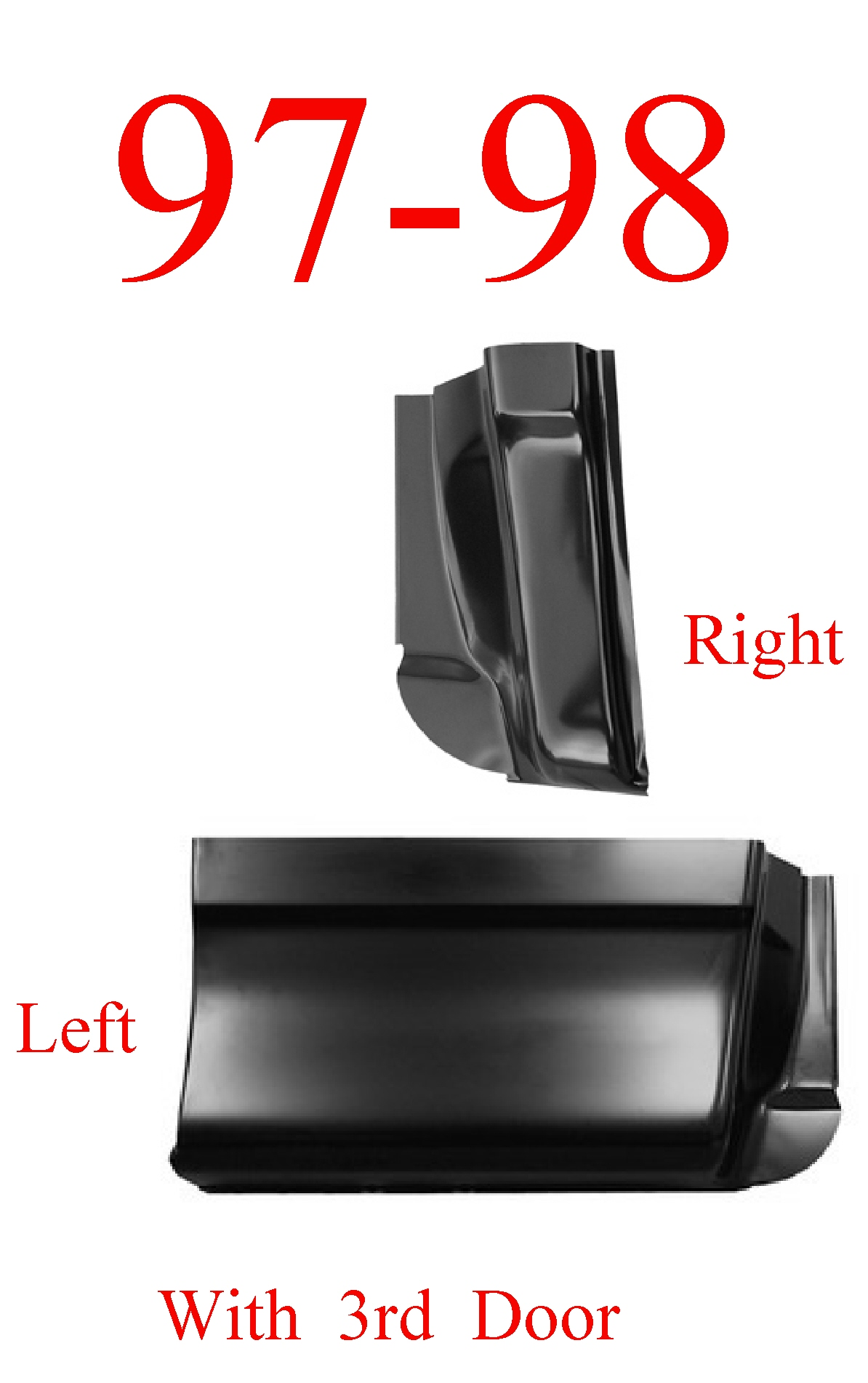 97-98 Ford 2Pc Extended Super Cab Corner Set 3 Door