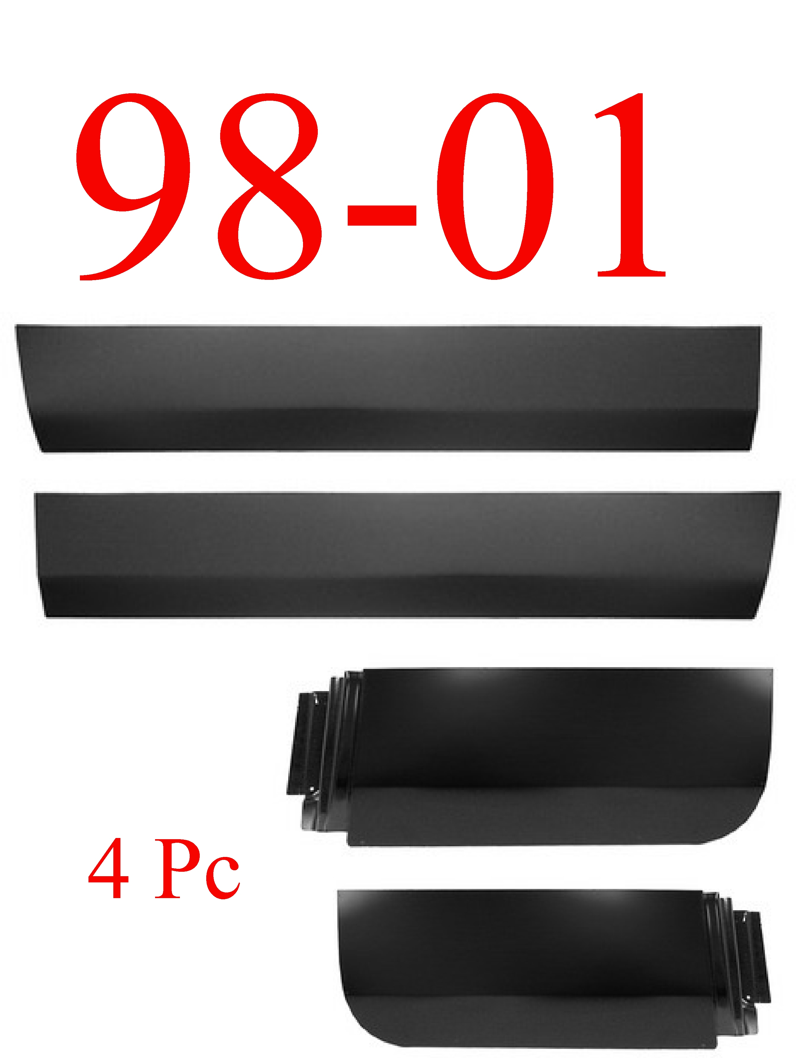98-01 Dodge 4Pc Quad Cab Door Skin Set