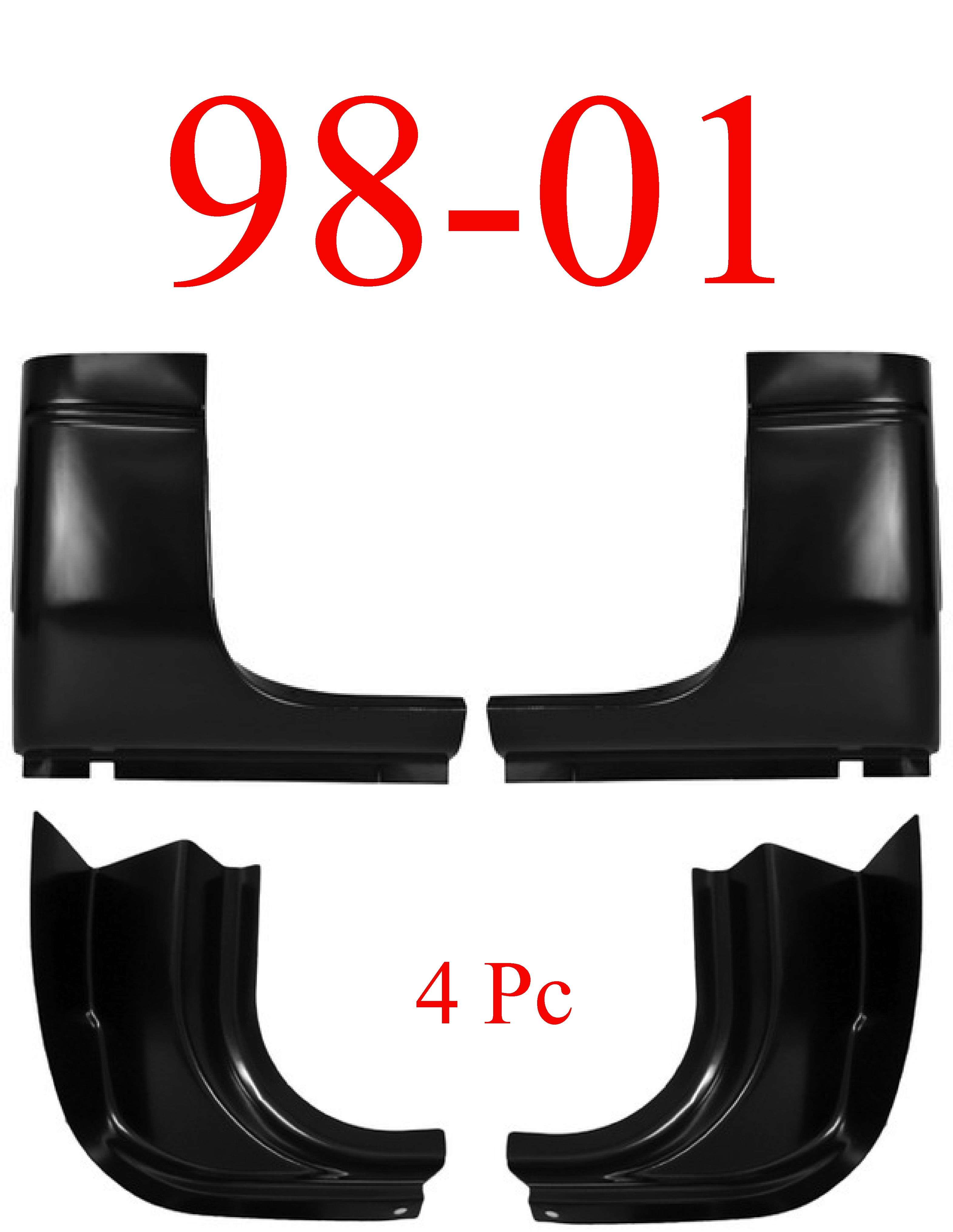98-01 Dodge 4Pc Quad Cab Corner & Inner