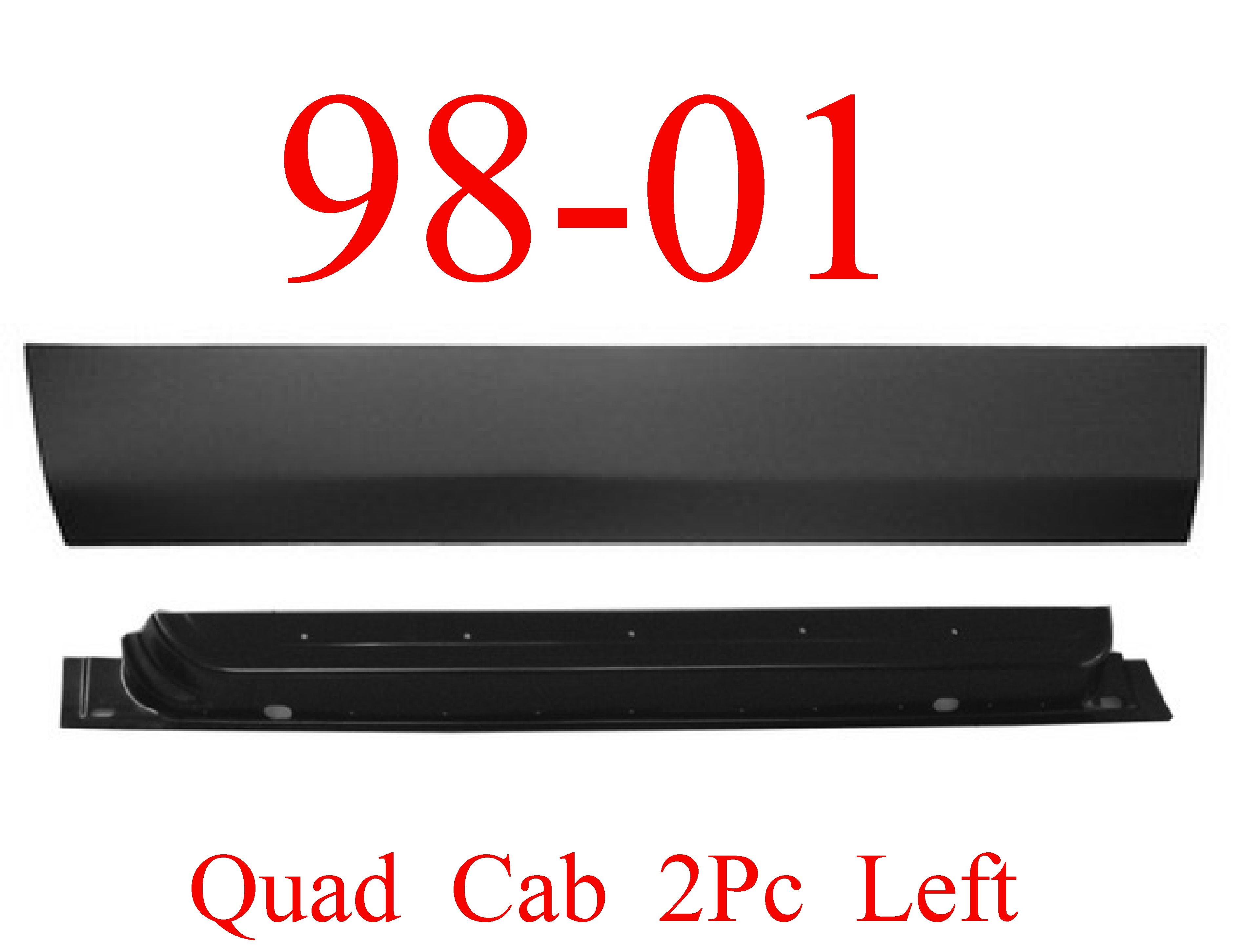 98-01 Dodge 2Pc Left Front Quad Cab Door Bottom & Inner Panel