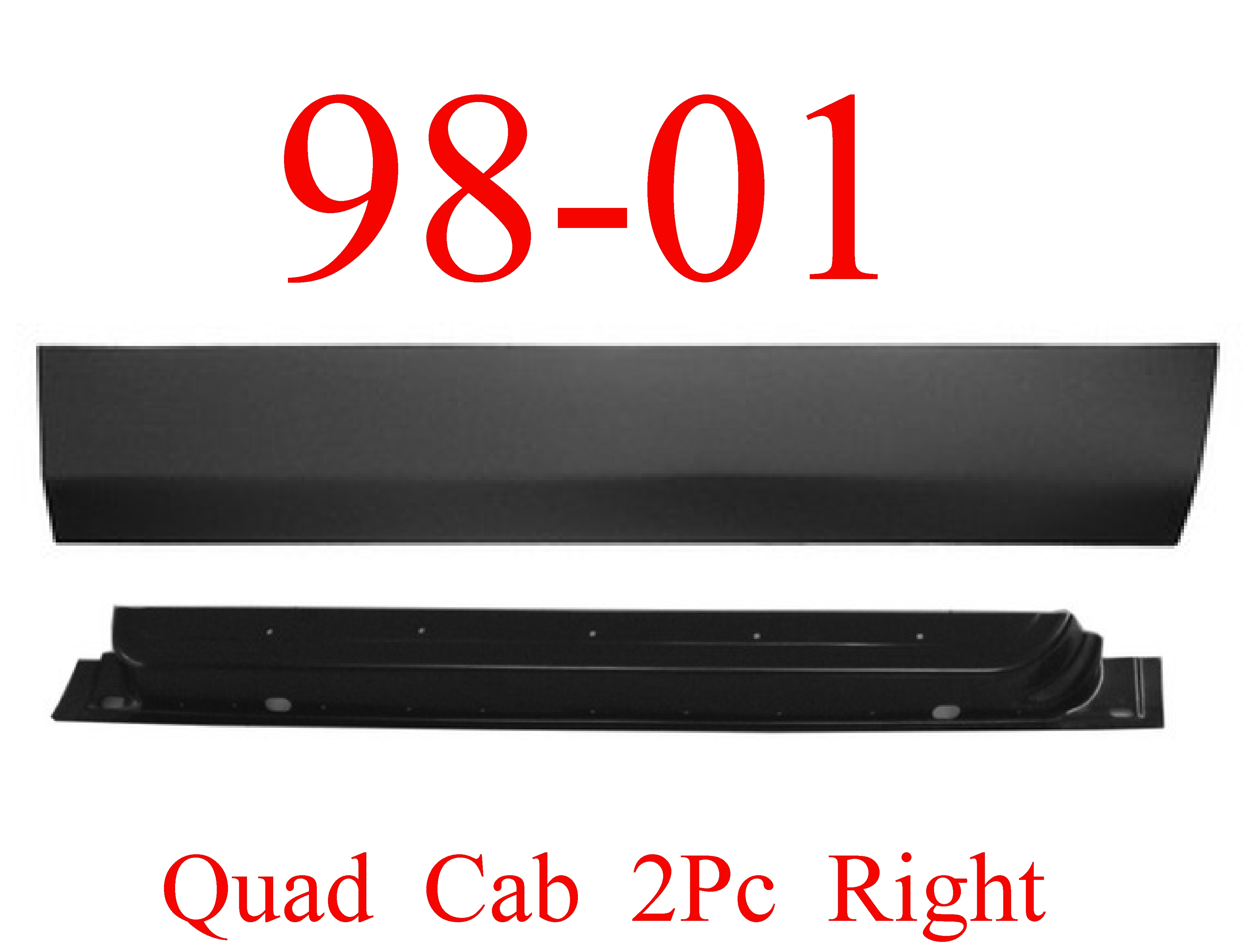 98-01 Dodge 2Pc Right Front Quad Cab Door Bottom & Inner Panel