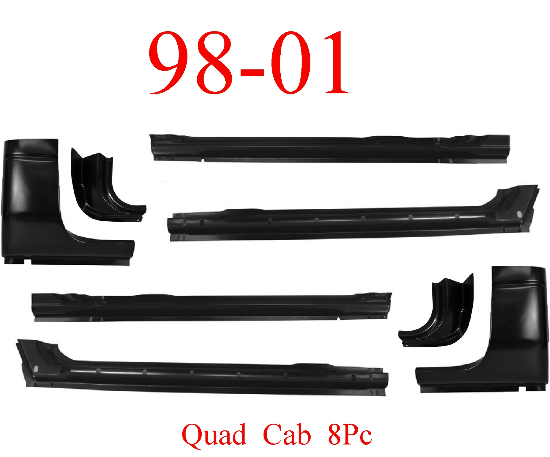 98-01 Dodge 8Pc Quad Cab Extended Rocker & Cab Corner Kit
