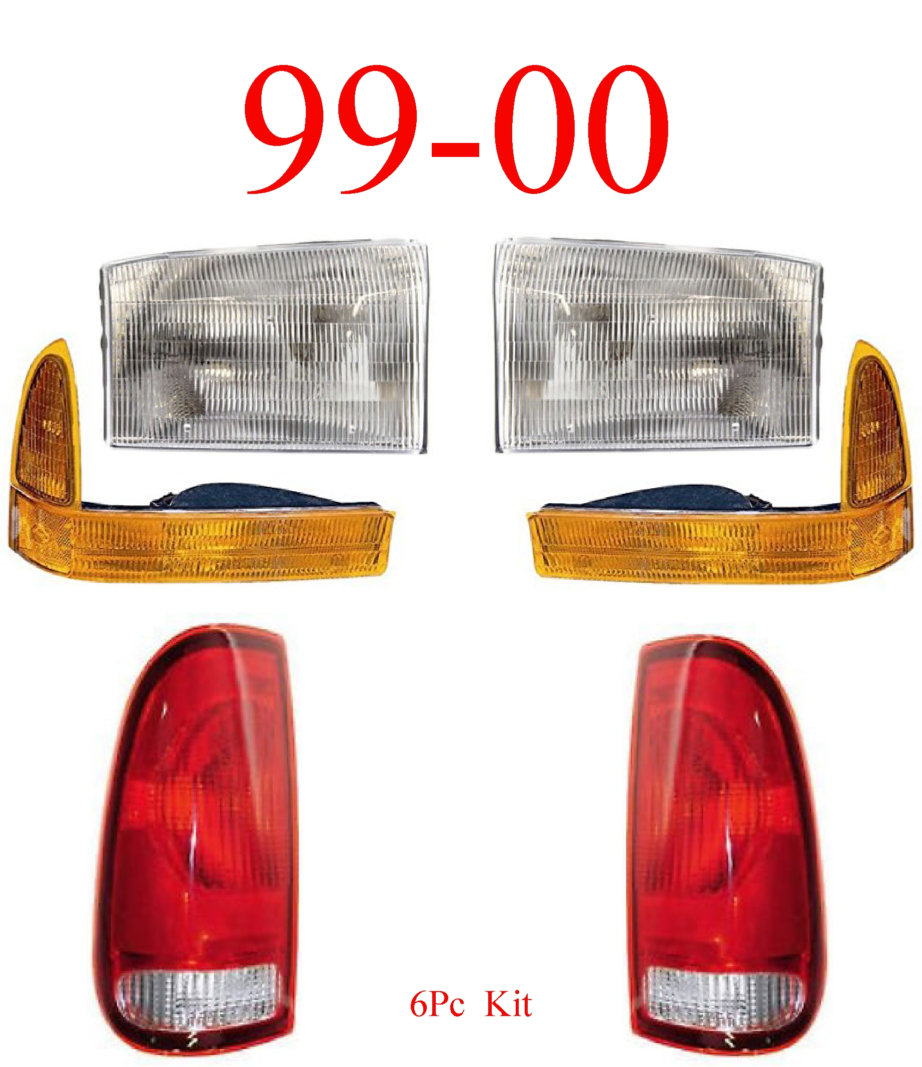 99-00 Ford Super Duty 6Pc Head, Park & Tail Light Kit
